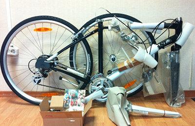 Сборка велосипеда из коробки