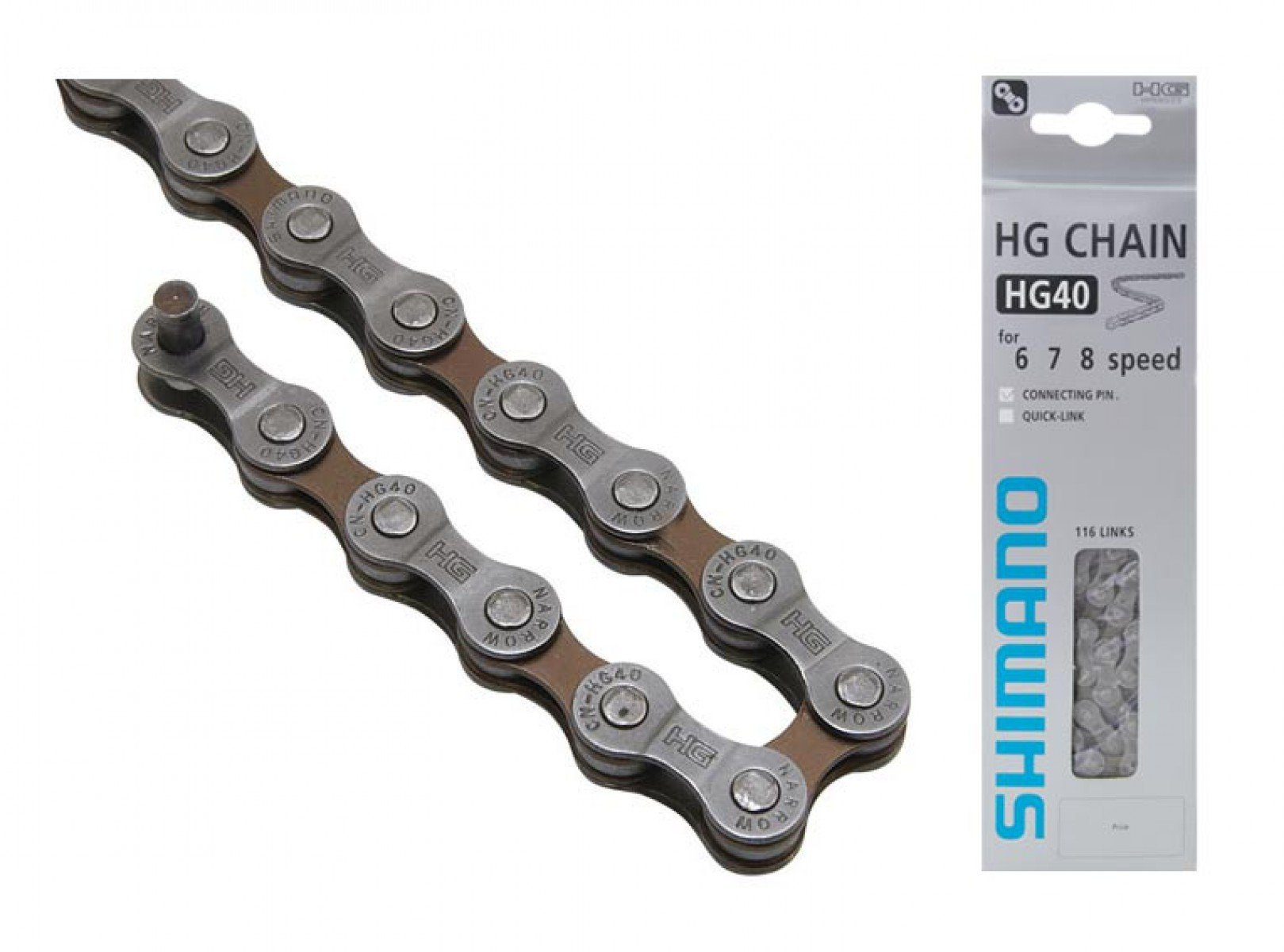 Цепь Shimano HG40, 6/7/8ск, 115 зв., зам. UG51
