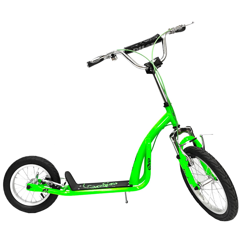 SO1612Olimp 16/12 - это качественный самокат городского назначения, который подойдет не только детям, но и взрослым. Рекомендуемый рост/вес райдера: 130-165 см / 90 кг. К стальной раме самоката прикреплена пластиковая дека с противоскользящей поверхностью для лучшего сцепления. Руль аналогичен велосипедному, оснащен мягкой накладкой, звонком и удобными резиновыми грипсами. Высоту руля можно настроить с помощью инструментов. Колеса - надувные, на стальных ободах, диаметр 16/12 дюймов. Для большего комфорта спереди вместо жесткой установлена пружинная вилка. Тормоза - ободные V-brake. Складная подножка делает парковку надежной и быстрой. Вес - около 7 кг.<br>