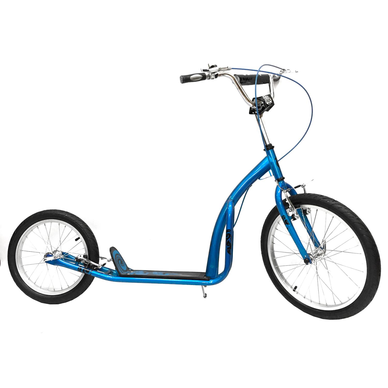 SO2016Самокат Olimp 20/16 по своим размерам вполне способен конкурировать с детскими велосипедами. При этом данная модель подойдет и взрослым. Стальная рама выдерживает нагрузку до 120 кг. Оптимальный рост райдера - oт 135 до 175 см. Дека изготовлена из пластика, благодаря специальному покрытию ботинок не проскальзывает при катании. Велосипедный руль самоката имеет мягкую накладку, укомплектован эргономичными грипсами и звонком. Самокат оснащен жесткой вилкой. Спереди установлено большое колесо диаметром 20 дюймов, сзади - 16 дюймов. Обода - стальные. Ободные тормоза V-brake отличаются стабильной работой и просты в обслуживании. Парковка самоката максимально облегчена благодаря складной подножке. Вес модели - 8 кг.<br>