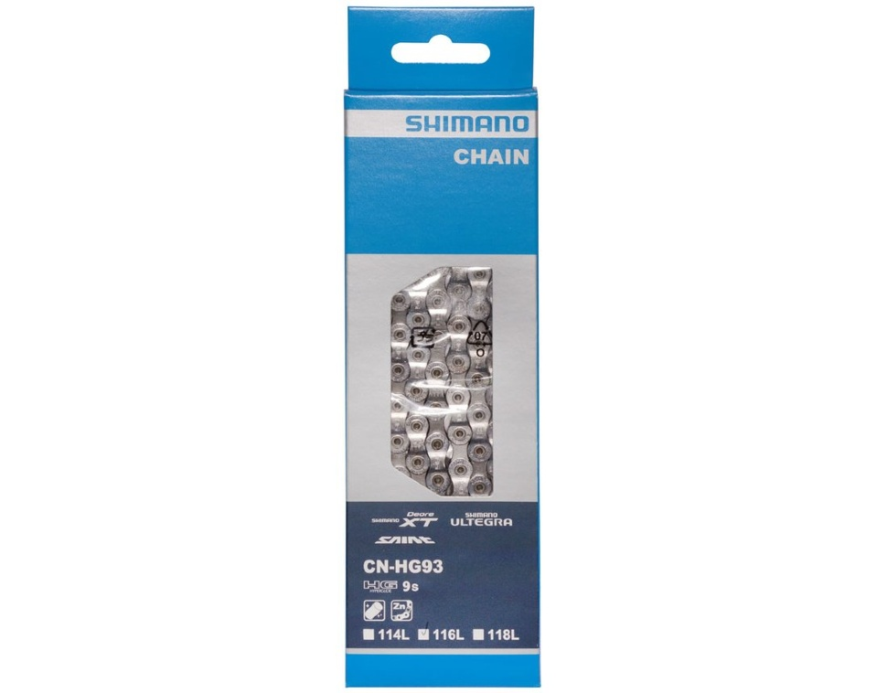Цепь Shimano XT HG93, 9ск, 116 зв., амп.пин 1шт.
