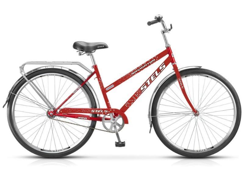 Navigator 300 Lady (2014)Женский дорожный велосипед начального уровня без переключения передач. Технические особенности: прочная стальная рама, жесткая стальная вилка, двойные алюминиевые обода, ножные педальные тормоза, отличающиеся наибольшей простотой в использовании и надежностью. Подходит для прогулочной езды по шоссе и ровным проселочным дорогам. Диаметр колес 28 дюймов, вес 17 кг.<br><br>Рама: сталь<br>Вилка: стальная, жёсткая<br>Тормоза: задний ножной<br>Передняя втулка: KT, сталь<br>Задняя втулка: KT, сталь<br>Каретка: сталь<br>Шатун: PROWHEEL, сталь<br>Педали: пластик<br>Рулевая колонка: сталь<br>Седло: Cionlli комфортное с пружинами<br>Обода: алюминий, двойные<br>Покрышки: CHAO YANG, 28<br>Размеры выпускаемые: 20