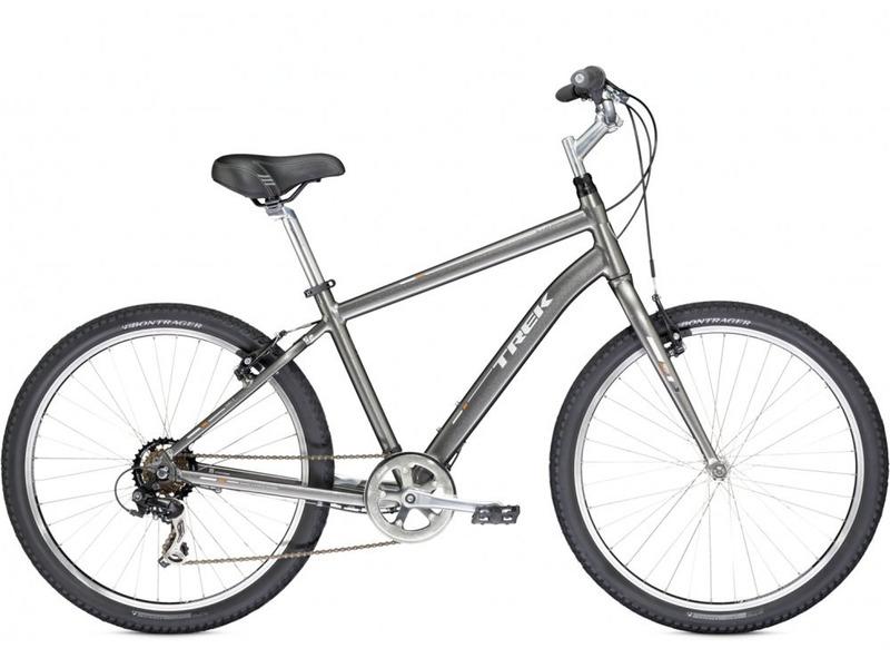 Shift 1 (2014)Комфортабельный велосипед начального уровня с оборудованием начального класса Shimano, 7 скоростей. Технические особенности: алюминиевая рама Alpha Gold Aluminium, жесткая вилка High-tensile steel, двойные обода Bontrager AT-550, надежные ободные тормоза Tektro alloy linear-pull. Подходит для комфортного катания по паркам, городским улицам и по маршрутам средней сложности в лесу. Диаметр колес - 26 дюймов. Вес - 13,3 кг.<br><br>Рама: Alpha Gold Aluminium<br>Вилка: High-tensile steel w/straight blades<br>Манетки: SRAM MRX, 7 speed twist<br>Тормоза: Tektro alloy linear-pull brakes<br>Задний переключатель: Shimano Tourney<br>Передняя втулка: Formula FM21 alloy front hub<br>Задняя втулка: Formula FM 31 alloy rear hub<br>Система: Forged alloy, 42T w/chainguard<br>Кассета: SunRace Freewheel 14-34, 7 speed<br>Педали: Wellgo nylon platform<br>Рулевая колонка: 1-1/8<br>Вынос: Bontrager Approved, 25.4mm, 25 degree, quill<br>Руль: Steel, 80mm rise<br>Подседельный штырь: Bontrager SSR, 31.6mm, 20mm offset<br>Седло: Bontrager Suburbia w/super-soft padding<br>Обода: Bontrager AT-550 36-hole alloy rims<br>Покрышки: Bontrager H5, 26x2.0<br>Цвета выпускаемые: Trek Charcoal<br>Размеры выпускаемые: 14.5, 16.5, 18.5, 21