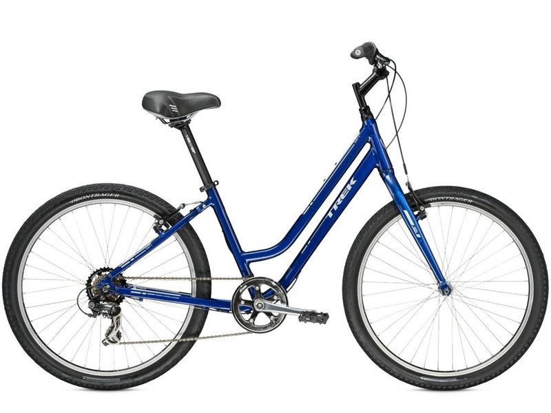 Shift 1 WSD (2015)Комфортабельный женский велосипед с оборудованием начального класса Shimano, 7 скоростей. Технические особенности: алюминиевая рама WSD Alpha Gold Aluminium, жесткая вилка High-tensile steel, двойные обода Bontrager AT-550, надежные ободные тормоза Tektro. Подходит для прогулочной езды по шоссе и несложной пересеченной местности. Диаметр колес - 26 дюймов. Вес - 12,4 кг.<br><br>Рама: WSD Alpha Gold Aluminium, rack &amp; mudguard mounts, internal cable routing<br>Вилка: High-tensile steel, CLIX dropout<br>Манетки: SRAM MRX, 7 speed twist<br>Тормоза: Tektro alloy linear-pull brakes<br>Задний переключатель: Shimano Tourney TX35<br>Передняя втулка: Formula FM21 alloy<br>Задняя втулка: Formula alloy<br>Система: Forged alloy, 42T w/chainguard<br>Кассета: SunRace freewheel 14-34, 7 speed<br>Цепь: KMC Z51<br>Педали: Wellgo nylon platform<br>Рулевая колонка: 1-1/8<br>Вынос: Bontrager Approved, 25.4mm, 25 degree, quill<br>Руль: Bontrager Riser, 25.4mm, 30mm rise<br>Подседельный штырь: Bontrager SSR, 31.6mm, 20mm offset<br>Седло: Bontrager Suburbia WSD w/super-soft padding<br>Обода: Bontrager AT-550 36-hole alloy<br>Покрышки: Bontrager H5, 26x2.0<br>Цвета выпускаемые: Trek Navy Blue, Seeglass Sangria<br>Размеры выпускаемые: 13.5, 16.5, 19