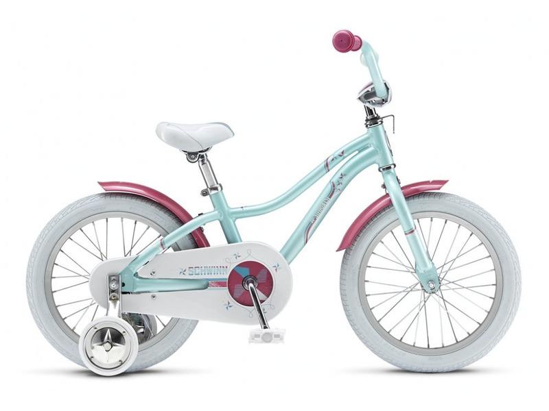 Lil Stardust 16 (2015)Велосипед, предназначенный для девочек в возрасте от трех до шести лет, без переключения передач. Технические особенности: алюминиевая рама Schwinn Sidewalk Kids, жесткая вилка Schwinn Rigid, одинарные алюминиевые обода, ножные педальные тормоза, крылья, полная защита цепи, мягкая накладка на руле, съемные боковые колеса. Подходит для обучения и легких прогулок. Диаметр колес - 16 дюймов.<br><br>Рама: Алюминиевая Schwinn Sidewalk Kids Women-Specific 16<br>Вилка: Жесткая стальная Schwinn Rigid 1<br>Тормоза: Задний ножной тормоз<br>Система: Forged 36t<br>Каретка: One Piece<br>Кассета: 18t<br>Цепь: KMC Z410<br>Педали: Plastic body with reflector<br>Рулевая колонка: Threaded, 1<br>Вынос: Алюминиевый Kids, 25.4<br>Руль: Стальной Kids 25.4<br>Подседельный штырь: Steel, 25.4<br>Седло: Schwinn Sidewalk Kids<br>Обода: Alloy 28 Hole<br>Спицы: 14G<br>Покрышки: Schwinn Scrambler 16 x 2.125<br>Цвета выпускаемые: Pearl Aqua, pearl pink<br>Размеры выпускаемые: OneSize