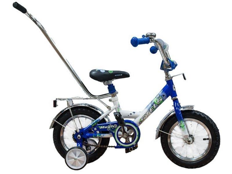 Magic 12 (2015)Велосипед, предназначенный для детей в возрасте от полутора до трех лет, без переключения передач. Технические особенности: прочная стальная рама, жесткая вилка, одинарные обода, ножные педальные тормоза, съемные боковые колесики, полная защита цепи, мягкие накладки на руле, клаксон, стальные крылья, багажник, высокий руль с накладками, звонок, зеркало. Подходит для обучения и легких прогулок. Диаметр колес - 12 дюймов. Вес - 8,6 кг.<br><br>Рама: сталь<br>Вилка: стальная, жёсткая<br>Тормоза: задний ножной<br>Шатун: сталь<br>Педали: пластик<br>Рулевая колонка: сталь<br>Вынос: сталь<br>Руль: сталь<br>Подседельный штырь: сталь<br>Седло: Stels, детское<br>Обода: сталь<br>Покрышки: 12<br>Цвета выпускаемые: розовый/белый, красный/белый, синий/белый<br>Размеры выпускаемые: One size