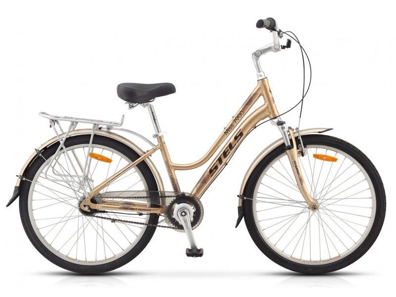 Miss 7900 V (2015)Женский прогулочный велосипед с оборудованием планетарного типа Shimano, 8 скоростей. Технические особенности: прочная алюминиевая рама, амортизационная вилка SR Suntour, двойные обода Weinmann, надежные ободные тормоза Tektro V-типа. Подходит для прогулочного катания в городских условиях и по несложным маршрутам в лесу. Диаметр колес - 26 дюймов. Вес - 16,12 кг.<br><br>Рама: алюминий<br>Вилка: SR Suntour, ход 50мм<br>Манетки: Shimano Nexus SL-8S30-A<br>Тормоза: Tektro, V-типа<br>Передняя втулка: Joy Tech, алюминий<br>Задняя втулка: Shimano Nexus, 8-sp<br>Система: Prowheel, сталь, 38T<br>Каретка: VP, картридж<br>Кассета: Shimano, 20T<br>Педали: VP, пластик<br>Рулевая колонка: VP, сталь<br>Седло: Cionlli<br>Обода: Weinmann, алюминий, двойные<br>Покрышки: Chao Yang, 26<br>Цвета выпускаемые: золотистый/коричневый<br>Размеры выпускаемые: 15