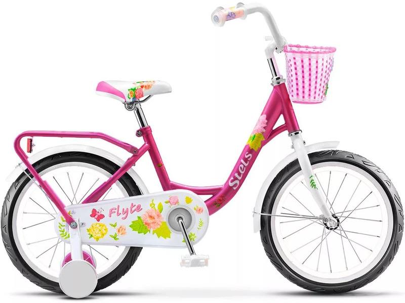 Flyte 16 (2016)Велосипед, предназначенный для детей в возрасте от трех до шести лет, без переключения передач. Технические особенности: прочная стальная рама, жесткая вилка, одинарные обода, ножные педальные тормоза, защита цепи, длинные крылья, съемные боковые колесики, багажник, передняя корзинка, звонок. Подходит для обучения и легких прогулок. Диаметр колес - 16 дюймов. Вес - 10,2 кг.<br><br>Рама: Сталь<br>Вилка: Жесткая, сталь<br>Тормоза: Задний ножной<br>Педали: Пластик<br>Рулевая колонка: Сталь<br>Вынос: Сталь<br>Руль: Сталь<br>Подседельный штырь: Сталь<br>Седло: Stels детское<br>Обода: Алюминий<br>Покрышки: 16<br>Цвета выпускаемые: зеленый, розовый, фиолетовый