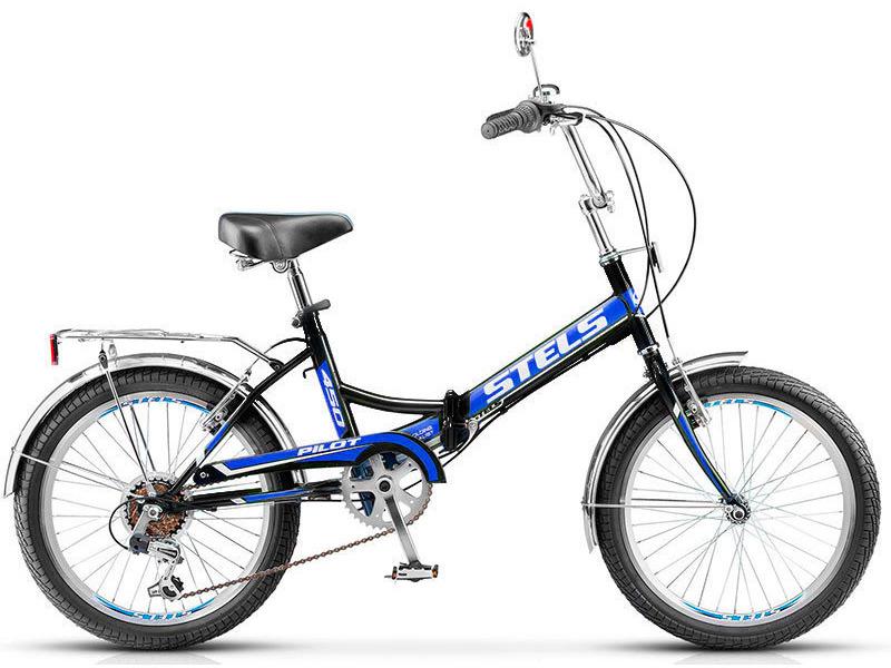 Pilot 450 (2016)Велосипеды Складные<br>Складной прогулочный велосипед с оборудованием начального класса Shimano, 6 скоростей. Технические особенности: прочная стальная рама, жесткая вилка, двойные обода JHT, надежные ободные тормоза Power, V-типа, крылья из нержавеющей стали, защита цепи, стальной багажник с зажимом, зеркало, насос, звонок. Подходит для прогулочной езды по шоссе и ровным проселочным дорогам. Диаметр колес - 20 дюймов. Вес - 15,8 кг.<br><br>Рама: Сталь<br>Вилка: Стальная, жёсткая<br>Манетки: Shimano Tourney, SL-RS35<br>Тормоза: Power, V-типа<br>Задний переключатель: Shimano Tourney, RD-TY21<br>Передняя втулка: KT, сталь<br>Задняя втулка: KT, сталь<br>Система: Сталь, 40T<br>Каретка: NECO, сталь<br>Кассета: Shimano Tourney, MF-TZ20<br>Педали: пластик/сталь<br>Рулевая колонка: NECO, сталь<br>Седло: Cionlli<br>Обода: JHT, алюминий, двойные<br>Покрышки: 20x2.0<br>Цвета выпускаемые: чёрный/красный, тёмно-синий/синий, тёмно-зелёный/зелёный, чёрный/оранжевый, фиолетовый/розовый, белый/красный, чёрный/зелёный, чёрный/синий<br>Размеры выпускаемые: 15
