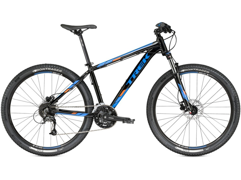 Marlin 7 27.5 (2016)Велосипеды Горные<br>Хардтейл для езды в стиле кросс-кантри с оборудованием любительского класса Shimano, 27 скоростей. Технические особенности: алюминиевая рама Alpha Silver Aluminium, амортизационная вилка SR Suntour XCM, двойные обода Bontrager AT-650, дисковые гидравлические тормоза Tektro M290. Подходит для активной езды по различным дорогам и пересеченной местности. Диаметр колес - 27,5 дюймов.<br><br>Рама: Alpha Silver Aluminum w/semi-integrated head tube, rack &amp; fender mounts, G2 Geometry on 29ers<br>Вилка: SR Suntour XCM, coil spring, preload, adjustable rebound, hydraulic lockout, G2 Geometry w/51mm offset on 29ers, 100mm travel (13.5? : 80mm travel)<br>Манетки: Shimano Altus M370, 9 speed<br>Тормоза: Tektro M290 hydraulic disc<br>Передний переключатель: Shimano Altus<br>Задний переключатель: Shimano Acera M390<br>Передняя втулка: Formula alloy hub<br>Задняя втулка: Formula alloy hub<br>Система: Shimano M351, 40/32/22<br>Кассета: Shimano HG20, 11-34, 9 speed<br>Цепь: KMC X9<br>Педали: Wellgo nylon platform<br>Рулевая колонка: 1-1/8? threadless, semi-integrated, semi-cartridge bearings<br>Вынос: Bontrager Elite, 31.8mm, 7 degree, Blendr compatible<br>Руль: Bontrager alloy, 31.8mm, 15mm rise<br>Подседельный штырь: Bontrager SSR, 2-bolt head, 27.2mm, 12mm offset<br>Седло: Bontrager Evoke 1.5<br>Обода: Bontrager AT-650 rims<br>Покрышки: Bontrager XR2, 27.5x2.20?<br>Цвета выпускаемые: черный/синий<br>Размеры выпускаемые: 13.5, 15.5?