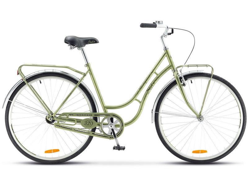 Navigator 320 Lady (2017)Велосипеды Женские<br>Женский дорожный велосипед без переключения передач. Технические особенности: прочная стальная рама, жесткая вилка, двойные алюминиевые обода, ножные педальные тормоза, полная защита цепи, передний и задний багажники, длинные стальные крылья, подножка, звонок. Подходит для комфортного катания по паркам и городским улицам. Диаметр колес - 28 дюймов. Вес - 16,1 кг.<br><br>Рама: Сталь<br>Вилка: Сталь, жесткая<br>Тормоза: Задний ножной<br>Передняя втулка: Сталь<br>Задняя втулка: Сталь<br>Система: Сталь, 42 зуб., шатун 170 мм<br>Каретка: Feimin, сталь<br>Кассета: 18 зуб.<br>Педали: Feimin, пластик<br>Рулевая колонка: Feimin, сталь<br>Седло: Stels Comfort<br>Обода: AL двойные<br>Покрышки: Chao Yang, 700С x 35<br>Цвета выпускаемые: коричневый<br>Размеры выпускаемые: 20?