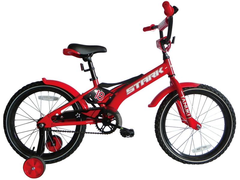 Tanuki 18 Boy (2017)Велосипед, предназначенный для детей в возрасте от четырех до восьми лет, без переключения передач. Технические особенности: алюминиевая рама AL 6061 Kids, жесткая вилка Hi-Ten steel, одинарные алюминиевые обода, ножные педальные тормоза, защита цепи, съемные боковые колеса, пластиковые крылья, мягкая накладка на руле, звонок. Подходит для обучения и легких прогулок. Диаметр колес - 18 дюймов.<br><br>Рама: AL 6061 Kids<br>Вилка: Hi-Ten steel<br>Тормоза: Задний ножной<br>Передняя втулка: DC<br>Задняя втулка: DC<br>Система: 36T Steel<br>Кассета: 16T<br>Цепь: Taya<br>Седло: Stark детское<br>Обода: Алюминий<br>Покрышки: Wanda 18х2,125<br>Цвета выпускаемые: красный/черный<br>Размеры выпускаемые: Один размер