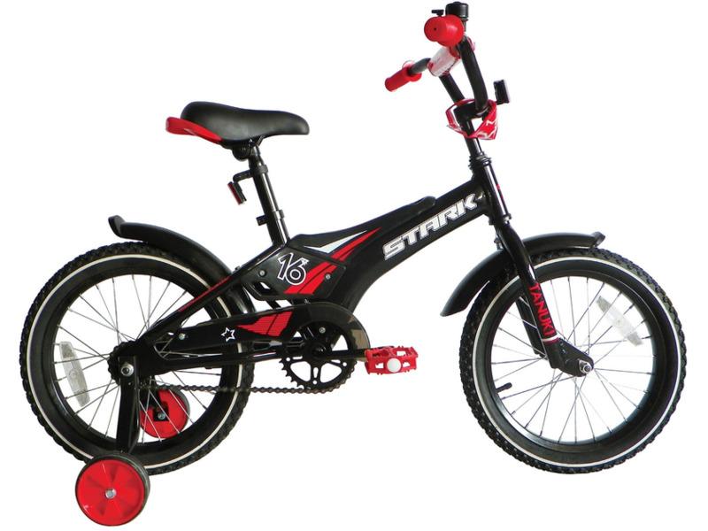 Tanuki 16 Boy (2017)Велосипед, предназначенный для детей в возрасте от трех до шести лет, без переключения передач. Технические особенности: алюминиевая рама AL 6061 Kids, жесткая вилка Hi-Ten steel, одинарные алюминиевые обода, ножные педальные тормоза, защита цепи, съемные боковые колеса, пластиковые крылья, мягкая накладка на руле, звонок. Подходит для обучения и легких прогулок. Диаметр колес - 16 дюймов.<br><br>Рама: AL 6061 Kids<br>Вилка: Hi-Ten steel<br>Тормоза: Задний ножной<br>Передняя втулка: DC<br>Задняя втулка: DC<br>Система: 28T Steel<br>Кассета: 16T<br>Цепь: Taya<br>Седло: Stark детское<br>Обода: Алюминий<br>Покрышки: Wanda 16х2,125<br>Цвета выпускаемые: черный/красный<br>Размеры выпускаемые: Один размер
