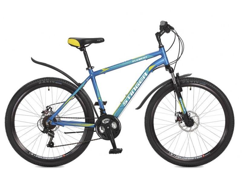Element D 26 (2017)Велосипеды Горные<br>Горный велосипед с оборудованием начального класса Shimano, 18 скоростей. Технические особенности: легкая алюминиевая рама, амортизационная вилка Stinger SSS-721B, двойные обода Felgebeiter HAC-2, дисковые тормоза STG DSC-910, подножка. Подходит для прогулочного катания по различным дорогам и пересеченной местности. Диаметр колес - 26 дюймов.<br><br>Рама: Алюминий<br>Вилка: Stinger SSS-721B/99x; ход 50мм; стойки 25.4мм<br>Манетки: Microshift TS-38; куркового типа; 3x6ск.<br>Тормоза: STG DSC-910; дисковые механические<br>Передний переключатель: Shimano Tourney TZ30<br>Задний переключатель: Shimano Tourney<br>Передняя втулка: STG A25; дисковые; стальные; с эксцентриками<br>Задняя втулка: STG A25; дисковые; стальные; с эксцентриками<br>Система: Stinger FCM; 170мм; 42/34/24t<br>Каретка: STG BBP-08A; картридж<br>Кассета: Sunway SW-608; 6ск. 14-28<br>Цепь: Taya TS-70<br>Педали: Feimin FP807; пластик<br>Рулевая колонка: Сталь<br>Вынос: Stinger 511; длина 90мм; для резьбовой р/к<br>Руль: Стальной райзер; 25.4мм x 660мм<br>Подседельный штырь: Stinger стальной; 27.2мм<br>Седло: STG<br>Обода: Felgebeiter HAC-2; двойные<br>Покрышки: Z-Axis 786 26x2.0?<br>Цвета выпускаемые: синий, серый<br>Размеры выпускаемые: 16, 18, 20?