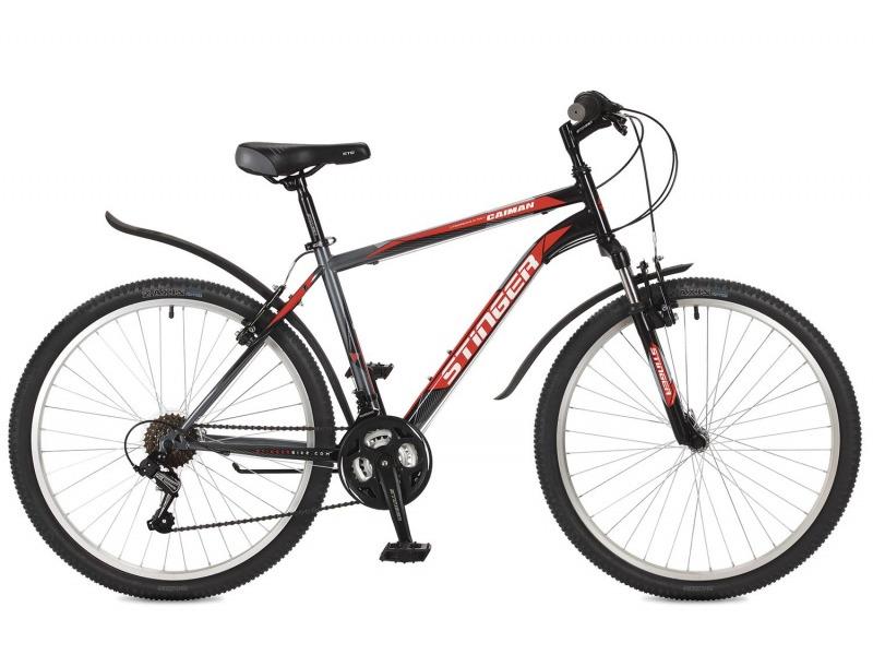 Caiman 26 (2017)Велосипеды Горные<br>Горный велосипед с оборудованием начального класса Shimano, 18 скоростей. Технические особенности: прочная стальная рама, амортизационная вилка Stinger SSS-721B, усиленные обода Felgebeiter HAC-11, надежные ободные тормоза V-Brake, подножка. Подходит для прогулочного катания по различным дорогам и несложной пересеченной местности. Диаметр колес - 26 дюймов.<br><br>Рама: Сталь<br>Вилка: Stinger SSS-721B/99x; ход 50мм; стойки 25.4мм<br>Манетки: Shimano RS-35; грипшифт; 3х6ск.<br>Тормоза: V-Brake; сталь<br>Передний переключатель: Shimano Tourney TZ30<br>Задний переключатель: Shimano Tourney<br>Передняя втулка: DC HB-01; сталь; эксцентрики<br>Задняя втулка: DC HB-01; сталь; эксцентрики<br>Система: Stinger FCM; 170мм; 42/34/24t<br>Каретка: Neco B906; полукартридж<br>Кассета: Sunway SW-608; 6ск. 14-28<br>Цепь: Taya TS-70<br>Педали: Feimin FP-807, пластик<br>Рулевая колонка: Сталь<br>Вынос: Stinger 511; длина 90мм; для резьбовой р/к<br>Руль: Стальной райзер; 25.4мм x 660мм<br>Подседельный штырь: Stinger стальной; 28.6мм<br>Седло: STG<br>Обода: Felgebeiter HAC-11; усиленный<br>Покрышки: Z-Axis 786 26x2.0?<br>Цвета выпускаемые: черный, зеленый<br>Размеры выпускаемые: 14, 16, 18, 20?