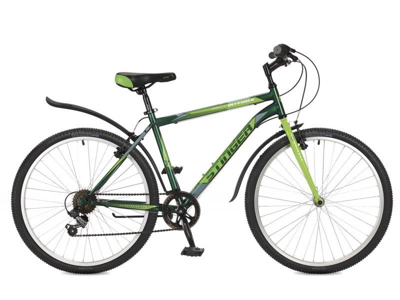 Defender 26 (2017)Велосипеды Горные<br>Горный велосипед для начинающих с навесным оборудованием Shimano, 6 скоростей. Технические особенности: прочная стальная рама, жесткая вилка Stinger Rigid, усиленные обода Felgebeiter HAC-11, надежные ободные тормоза V-Brake, подножка. Подходит для прогулочного катания по различным дорогам и несложной пересеченной местности. Диаметр колес - 26 дюймов.<br><br>Рама: Сталь<br>Вилка: Stinger Rigid; жесткая вилка для горного велосипеда<br>Манетки: Shimano RS-35; грипшифт; 6ск.<br>Тормоза: V-Brake; сталь<br>Задний переключатель: Shimano Tourney<br>Передняя втулка: DC HB-01; сталь; эксцентрики<br>Задняя втулка: DC HB-01; сталь; эксцентрики<br>Система: Stinger FCM; 170мм; 38t<br>Каретка: Neco B906; полукартридж<br>Кассета: Sunway SW-608; 6ск. 14-28<br>Цепь: Taya TS-70<br>Педали: Feimin FP-807, пластик<br>Рулевая колонка: Сталь<br>Вынос: Stinger 511; длина 90мм; для резьбовой р/к<br>Руль: Стальной райзер; 25.4мм x 660мм<br>Подседельный штырь: Stinger стальной; 28.6мм<br>Седло: STG<br>Обода: Felgebeiter HAC-11; усиленный<br>Покрышки: Z-Axis 786 26x2.0?<br>Цвета выпускаемые: зеленый, серый<br>Размеры выпускаемые: 14, 16, 18, 20?