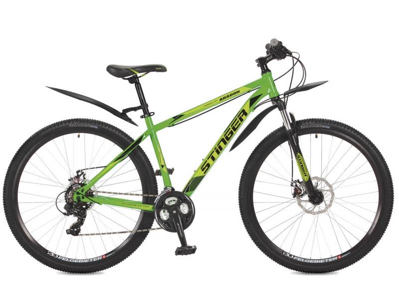 Aragon 29 (2017)Велосипеды Горные<br>Горный велосипед с оборудованием начального класса Shimano, 21 скорость. Технические особенности: прочная стальная рама, амортизационная вилка Stinger SSS-N790, двойные обода Felgebeiter HAC-2, дисковые механические тормоза STG DSC-910. Подходит для прогулочного катания по различным дорогам и пересеченной местности. Диаметр колес - 29 дюймов.<br><br>Рама: Сталь<br>Вилка: Stinger SSS-N790/5150; ход 50мм; стойки 28.6мм<br>Манетки: Microshift TS-38; куркового типа; 3x7ск.<br>Тормоза: STG DSC-910; дисковые механические<br>Передний переключатель: Shimano Tourney FD-TY500<br>Задний переключатель: Shimano Tourney<br>Передняя втулка: STG A25; дисковые; стальные; с эксцентриками<br>Задняя втулка: STG A25; дисковые; стальные; с эксцентриками<br>Система: Stinger FCM; 170мм; 42/34/24t<br>Каретка: NECO B906; полукартридж<br>Кассета: Shimano Tourney MF-TZ31; 7ск. 14-34<br>Цепь: Taya TS-80<br>Педали: Feimin FP-807, пластик<br>Рулевая колонка: Сталь<br>Вынос: STG 078; алюминий<br>Руль: Стальной райзер; 31.8мм x 660мм<br>Подседельный штырь: Stinger стальной; 28.6мм<br>Седло: STG<br>Обода: Felgebeiter HAC-2; двойные<br>Покрышки: Z-Axis 786 29x2.1?<br>Цвета выпускаемые: зеленый, черный<br>Размеры выпускаемые: 16, 18, 20?