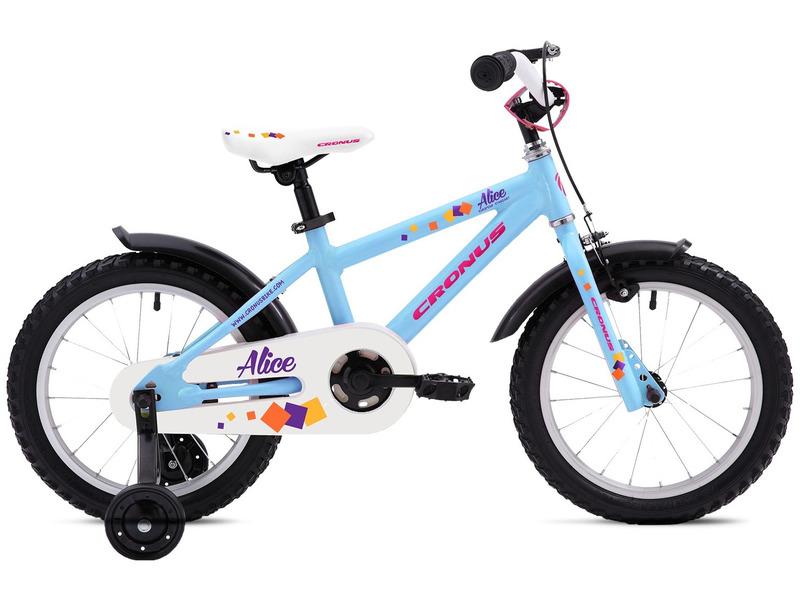 Alice 16 (2017)Велосипед, предназначенный для девочек в возрасте от трех до шести лет, без переключения передач. Технические особенности: алюминиевая рама, жесткая стальная вилка, одинарные алюминиевые обода Dino Alloy, передний тормоз - ручной Power VBR-131S V-brake, задний - ножной, защита цепи, съемные боковые колеса, пластиковые крылья. Подходит для обучения и легких прогулок. Диаметр колес - 16 дюймов.<br><br>Рама: Алюминий<br>Вилка: Жесткая стальная<br>Тормоза: Power VBR-131S V-brake / Ножной тормоз<br>Передняя втулка: SF-HB03, сталь<br>Задняя втулка: KT-305, сталь<br>Система: Cyclone CTL-101, 28T, шатуны: 114 мм<br>Каретка: Стальная<br>Кассета: 16T<br>Цепь: KMC Z410A<br>Педали: VP-580, пластик<br>Рулевая колонка: Стальная<br>Вынос: Promax BQ-5202<br>Руль: Promax HB-B201, сталь, ширина: 520 мм<br>Подседельный штырь: Диаметр: 27.2 мм., длина: 200 мм<br>Седло: Cronus<br>Обода: Dino, алюминий<br>Покрышки: Cronus P182, 16?1.95/2.125?<br>Цвета выпускаемые: голубой<br>Размеры выпускаемые: 9?