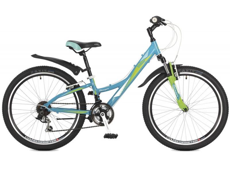 Galaxy 24 (2017)Велосипед, предназначенный для девочек в возрасте от восьми до тринадцати лет, с оборудованием начального класса Shimano, 12 скоростей. Технические особенности: алюминиевая рама, амортизационная вилка Stinger, двойные обода Felgebeiter HAC-2, надежные ободные тормоза STG V-Brake, подножка. Подходит для прогулочного катания по различным дорогам и пересеченной местности. Диаметр колес - 24 дюйма.<br><br>Рама: Алюминий<br>Вилка: Stinger, ход 50мм<br>Манетки: Shimano RS-35; грипшифт; 3х6ск.<br>Тормоза: STG V-Brake; алюминий<br>Передний переключатель: Shimano Tourney TZ30<br>Задний переключатель: Shimano Tourney<br>Передняя втулка: DC HB-01; сталь; эксцентрик/гайки<br>Задняя втулка: DC HB-01; сталь; эксцентрик/гайки<br>Система: Stinger FCM; 152мм; 38/28t<br>Каретка: Neco B906; полукартридж<br>Кассета: Sunway SW-608; 6ск. 14-28<br>Цепь: Taya TS-70<br>Педали: Feimin FP807; пластик<br>Вынос: Stinger 511; длина 90мм; для резьбовой р/к<br>Руль: Стальной райзер; 25.4мм х 580мм<br>Подседельный штырь: Stinger стальной; 27.2мм<br>Седло: Stinger<br>Обода: Felgebeiter HAC-2; двойные<br>Покрышки: Z-Axis P1275 24x1.95?<br>Цвета выпускаемые: зеленый/синий<br>Размеры выпускаемые: 11?