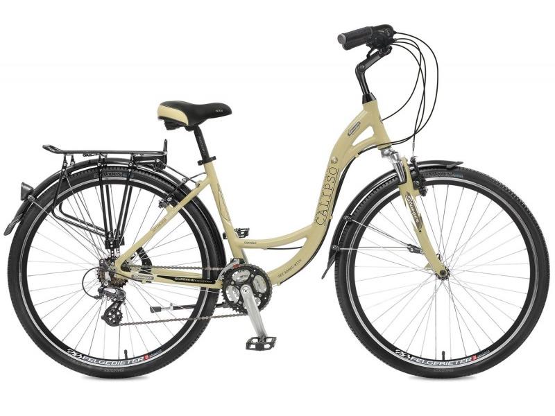 Calipso (2017)Женский комфортабельный велосипед с оборудованием любительского класса Shimano, 21 скорость. Технические особенности: алюминиевая рама, амортизационная вилка Zoom Swift, двойные обода Felgebeiter HAC-2, надежные ободные тормоза Promax TX-115C V-brake, длинные крылья, багажник с зажимом, регулируемый вынос, комфортное седло, подножка. Подходит для комфортного катания по паркам, городским улицам и по маршрутам средней сложности в лесу. Диаметр колес - 28 дюймов.<br><br>Рама: Алюминий<br>Вилка: Zoom Swift, ход 40 мм<br>Манетки: Shimano EF51<br>Тормоза: Promax TX-115C V-brake<br>Передний переключатель: Shimano Tourney<br>Задний переключатель: Shimano Altus<br>Передняя втулка: Quando<br>Задняя втулка: Quando<br>Система: Prowheel A302, 42/32/22<br>Каретка: Neco B910, картриджная<br>Кассета: Shimano MF-TZ21<br>Цепь: KMC Z50<br>Педали: Feimin FP-922, алюминий<br>Рулевая колонка: Neco H142, 1,1/8?<br>Вынос: Promax MQ525, длина 108мм<br>Руль: Zoom NR-AL-14, алюминий<br>Подседельный штырь: Promax SP-214, диам. 27.2мм; длина 350мм<br>Седло: STG Comfort<br>Обода: Felgebeiter HAC-2 28?, двойные<br>Покрышки: Wanda P142 28x1,75?<br>Цвета выпускаемые: серый<br>Размеры выпускаемые: 16?