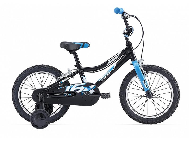 Animator F/W 16 (2017)Велосипед, предназначенный для детей в возрасте от трех до шести лет, без переключения передач. Технические особенности: алюминиевая рама ALUXX-Grade Aluminum, жесткая вилка High Tensile Steel, алюминиевые обода 6061 Aluminum, надежные ободные тормоза Alloy Direct-Pull, полная защита цепи, съемные боковые колеса, мягкая накладка на руле, звонок. Подходит для обучения и легких прогулок. Диаметр колес - 16 дюймов.<br><br>Рама: ALUXX-Grade Aluminum<br>Вилка: High Tensile Steel rigid Fork, 1-1/8?, 25.4mm Steel Steerer with dropout cap<br>Тормоза: Alloy Direct-Pull<br>Передняя втулка: Nutted, 20h with 74mm O.L.D<br>Задняя втулка: Nutted, 20h with 74mm O.L.D<br>Система: High Tensile Steel 1-Piece, 28T<br>Каретка: Loose Ball<br>Кассета: 18T<br>Цепь: KMC C410<br>Педали: Nylon Platform<br>Вынос: 4-Bolt Alloy top plate, Quill<br>Руль: Giant Kids, High Rise 22.2mm, 152mm Rise, with tapper end<br>Подседельный штырь: Steel 27.2, 230mm<br>Седло: Giant Kids<br>Обода: Giant Kids 16?, 6061 Aluminum, w/ CNC Braking Surfaces<br>Спицы: 14G BED<br>Покрышки: Giant Kids, 16x2.125?<br>Цвета выпускаемые: черный/синий<br>Размеры выпускаемые: Один размер