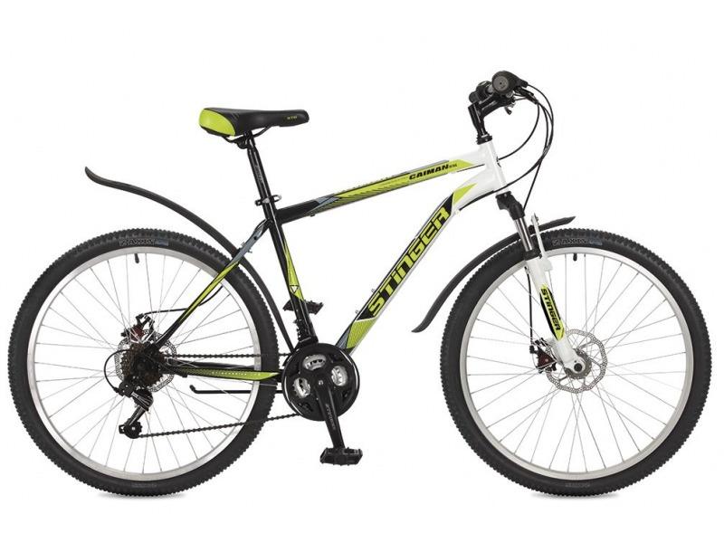 Caiman D 26 (2017)Велосипеды Горные<br>Горный велосипед начального уровня с навесным оборудованием Shimano, 18 скоростей. Технические особенности: прочная стальная рама, амортизационная вилка Stinger SSS-735F, усиленные обода Felgebeiter HAC-11, дисковые механические тормоза STG DSC-910, подножка. Подходит для прогулочного катания по различным дорогам и пересеченной местности. Диаметр колес - 26 дюймов.<br><br>Рама: Сталь<br>Вилка: Stinger SSS-735F ход 65мм; стойки 28.6мм<br>Манетки: Shimano RS-35; грипшифт; 3х6ск.<br>Тормоза: STG DSC-910; дисковые механические<br>Передний переключатель: Shimano Tourney TZ30<br>Задний переключатель: Shimano Tourney<br>Передняя втулка: STG A25; дисковые; стальные; с эксцентриками<br>Задняя втулка: STG A25; дисковые; стальные; с эксцентриками<br>Система: Stinger FCM; 170мм; 42/34/24t<br>Каретка: Neco B906; полукартридж<br>Кассета: Sunway SW-608; 6ск. 14-28<br>Цепь: Taya TS-70<br>Педали: Feimin FP807; пластик<br>Рулевая колонка: Neco, 1 1/8?, полуинтегрированная безрезьбовая<br>Вынос: Stinger 511; длина 90мм; для резьбовой р/к<br>Руль: Стальной райзер; 25.4мм x 660мм<br>Подседельный штырь: Stinger стальной; 28.6мм<br>Седло: MTB<br>Обода: Felgebeiter HAC-11; усиленный<br>Покрышки: Z-Axis 786 26x2.0?<br>Цвета выпускаемые: оранжевый/серый/синий, зеленый/черный/белый<br>Размеры выпускаемые: 16, 18, 20?