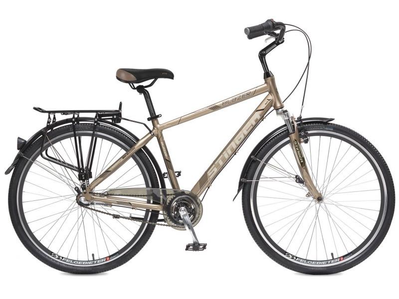 Blazer (2017)Дорожный велосипед класса туринг с оборудованием планетарного типа Shimano, 3 скорости. Технические особенности: алюминиевая рама, амортизационная вилка Zoom, двойные обода Felgebeiter HAC-2, передний тормоз - Promax TX-115C V-brake, задний - ножной, пластиковая защита цепи, длинные крылья, багажник, регулируемый вынос, подножка. Подходит для прогулочной езды по шоссе и несложной пересеченной местности. Диаметр колес - 28 дюймов.<br><br>Рама: Алюминий<br>Вилка: Zoom, амортизационная, ход 40 мм<br>Манетки: Shimano Nexus Revo<br>Тормоза: Promax TX-115C V-brake / Ножной<br>Передняя втулка: Quando<br>Задняя втулка: Shimano Nexus, 3ск.<br>Система: Prowheel A115, 38 зубьев<br>Каретка: Neco B910, картриджная<br>Кассета: Shimano, 18Т<br>Цепь: KMC Z410A<br>Педали: Feimin FP-922, алюминий<br>Рулевая колонка: Neco H142, 1,1/8?<br>Вынос: Promax MQ525, длина 108мм<br>Руль: Zoom NR-AL-14, алюминий<br>Подседельный штырь: Promax SP-214, диам. 27.2мм; длина 350мм<br>Седло: STG Comfort<br>Обода: Felgebeiter HAC-2 28?, двойные<br>Покрышки: Wanda P142 28x1,75?<br>Цвета выпускаемые: коричневый<br>Размеры выпускаемые: 18?