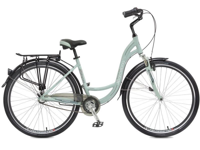 Barcelona (2017)Женский дорожный велосипед с оборудованием планетарного типа Shimano, 3 скорости. Технические особенности: алюминиевая рама, амортизационная вилка Zoom Swift, двойные обода Felgebeiter HAC-2, передний тормоз - Promax TX-115C V-brake, задний - ножной, пластиковая защита цепи, длинные крылья, багажник, комфортное седло, регулируемый вынос, подножка. Подходит для прогулочной езды по шоссе и несложной пересеченной местности. Диаметр колес - 28 дюймов.<br><br>Рама: Алюминий<br>Вилка: Zoom Swift, амортизационная, ход 40 мм<br>Манетки: Shimano Nexus Revo<br>Тормоза: Promax TX-115C V-brake / Ножной<br>Передняя втулка: Quando<br>Задняя втулка: Shimano Nexus, 3ск.<br>Система: Prowheel A115, 38 зубьев<br>Каретка: Neco B910, картриджная<br>Кассета: Shimano, 18Т<br>Цепь: KMC Z410A<br>Педали: Feimin FP-922, алюминий<br>Рулевая колонка: Neco H142, 1,1/8?<br>Вынос: Promax MQ525, длина 108мм<br>Руль: Zoom NR-AL-14, алюминий<br>Подседельный штырь: Promax SP-214, диам. 27.2мм; длина 350мм<br>Седло: STG Comfort<br>Обода: Felgebeiter HAC-2 28?, двойные<br>Покрышки: Wanda P142 28x1,75?<br>Цвета выпускаемые: зеленый<br>Размеры выпускаемые: 16?