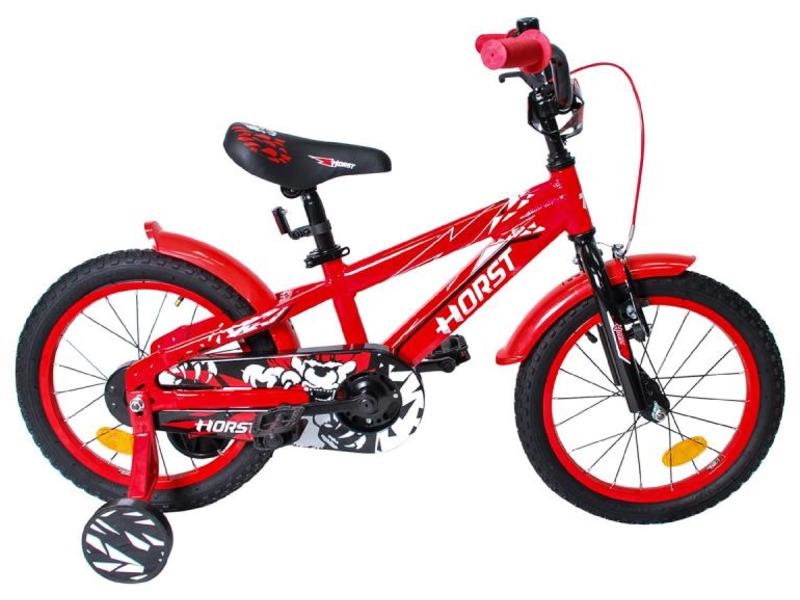 Blitz (2017)Велосипед, предназначенный для детей в возрасте от трех до шести лет, без переключения передач. Технические особенности: алюминиевая рама сплав 6061, жесткая стальная вилка, одинарные алюминиевые обода, передний тормоз - Sparkle V-brake, задний - ножной, полная защита цепи, крылья, съемные боковые колеса, мягкая накладка на руле, звонок. Подходит для обучения и прогулочного катания в городских условиях. Диаметр колес - 16 дюймов.<br><br>Рама: Алюминиевая (сплав 6061)<br>Вилка: Horst, жесткая стальная<br>Тормоза: Sparkle V-brake, ободные / ножной<br>Передняя втулка: Shunfeng, 20 отверстий<br>Задняя втулка: Shunfeng, 20 отверстий, ножной тормоз<br>Система: 28 зубьев, 114 мм шатуны<br>Каретка: Yongling D-3<br>Кассета: 16 зубьев<br>Цепь: Meiya C410B<br>Педали: Feimin, пластик<br>Рулевая колонка: Neco H800K, 1?<br>Вынос: Horst, стальной<br>Руль: Horst, ширина 480 мм, стальной<br>Подседельный штырь: Horst, стальной<br>Седло: Horst детское<br>Обода: Алюминиевые, 20 отверстий<br>Спицы: Сталь<br>Покрышки: Wanda, 16?<br>Цвета выпускаемые: красный<br>Размеры выпускаемые: 9?