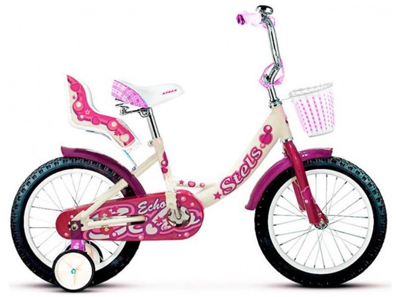 Echo 16 (2017)Велосипед, предназначенный для девочек в возрасте от трех до шести лет, без переключения передач. Технические особенности: прочная стальная рама, жесткая стальная вилка, одинарные обода, ножные педальные тормоза, полная защита цепи, крылья, съемные боковые колеса, мягкая накладка на руле, сиденье для куклы, передняя корзинка, звонок. Подходит для обучения и прогулочного катания в городских условиях. Диаметр колес - 16 дюймов. Вес - 10,6 кг.<br><br>Рама: Сталь Hi-Ten<br>Вилка: Жесткая, стальная<br>Тормоза: Ножные педальные<br>Передняя втулка: Сталь<br>Задняя втулка: Сталь<br>Система: Стальная<br>Каретка: Сталь<br>Педали: Пластик<br>Рулевая колонка: Сталь<br>Вынос: Стальной<br>Руль: Стальной<br>Подседельный штырь: Стальной<br>Седло: Stels, детское<br>Обода: Стальные одностеночные<br>Покрышки: 16?<br>Цвета выпускаемые: розовый, коричневый, фиолетовый<br>Размеры выпускаемые: Один размер