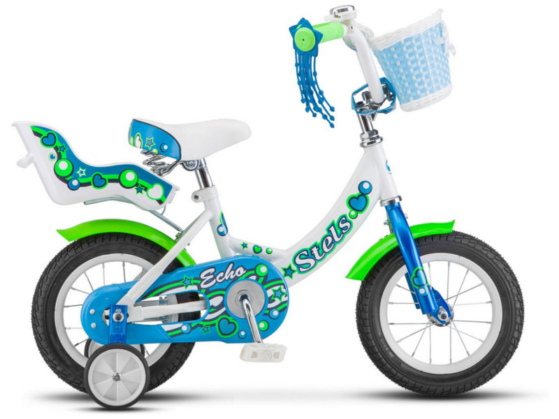 Echo 12 (2017)Велосипед, предназначенный для детей в возрасте от полутора до трех лет, без переключения передач. Технические особенности: прочная стальная рама, жесткая вилка, одинарные стальные обода, ножные педальные тормоза, полная защита цепи, съемные боковые колеса, крылья, мягкая накладка на руле, передняя корзинка, сиденье для куклы, звонок. Подходит для обучения и легких прогулок. Диаметр колес - 12 дюймов. Вес - 10,5 кг.<br><br>Рама: Сталь Hi-Ten<br>Вилка: Жесткая, стальная<br>Тормоза: Задний ножной<br>Передняя втулка: Сталь<br>Задняя втулка: Сталь<br>Система: Сталь<br>Каретка: Сталь<br>Педали: Пластик<br>Рулевая колонка: Сталь<br>Вынос: Сталь<br>Руль: Сталь<br>Подседельный штырь: Сталь<br>Седло: Stels, детское<br>Обода: Стальные одностеночные<br>Покрышки: 12?<br>Цвета выпускаемые: розовый, коричневый, фиолетовый, белый/голубой<br>Размеры выпускаемые: Один размер