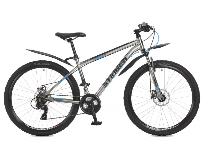 Graphite D 27.5 (2017)Горный велосипед с оборудованием начального класса Shimano, 21 скорость. Технические особенности: легкая алюминиевая рама, амортизационная вилка Stinger, двойные алюминиевые обода Felgebeiter HAC-2, дисковые механические тормоза STG DSC-910. Подходит для прогулочного катания по различным дорогам и пересеченной местности. Диаметр колес - 27,5 дюймов.<br><br>Рама: Алюминий<br>Вилка: Амортизирующая вилка Stinger, ход 50мм<br>Манетки: Microshift TS-38; куркового типа; 3x7ск.<br>Тормоза: STG DSC-910; дисковые механические<br>Передний переключатель: Shimano Tourney TY500<br>Задний переключатель: Shimano Tourney<br>Передняя втулка: STG A25; дисковые; стальные; с эксцентриками<br>Задняя втулка: STG A25; дисковые; стальные; с эксцентриками<br>Система: Stinger FCM; 170мм; 42/34/24t<br>Каретка: STG BBP-08A; картридж<br>Кассета: Shimano Tourney MF-TZ21; 7ск. 14-28<br>Цепь: Taya TS-80<br>Педали: Feimin FP807; пластик<br>Вынос: STG 078; алюминий<br>Руль: Стальной райзер; 31.8мм x 660мм<br>Подседельный штырь: Stinger алюминий; 27.2мм<br>Седло: Stark<br>Обода: Felgebeiter HAC-2; двойные<br>Покрышки: Z-Axis 786 27.5x2.0?<br>Цвета выпускаемые: серый<br>Размеры выпускаемые: 16, 18?