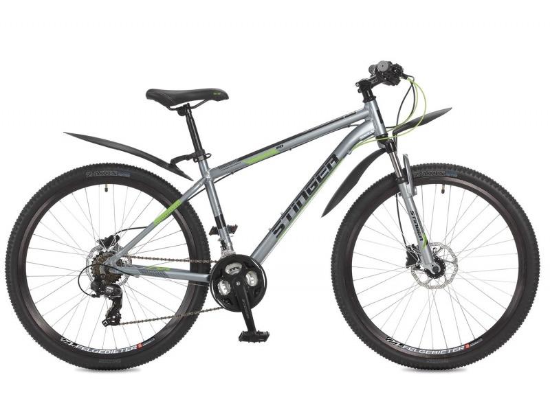 Graphite HD 27.5 (2017)Велосипеды Горные<br>Горный велосипед с оборудованием начального класса Shimano, 21 скорость. Технические особенности: легкая алюминиевая рама, амортизационная вилка Stinger, двойные алюминиевые обода Felgebeiter HAC-2, дисковые гидравлические тормоза Shimano Altus M315. Подходит для прогулочного катания по различным дорогам и пересеченной местности. Диаметр колес - 27,5 дюймов.<br><br>Рама: Алюминий<br>Вилка: Амортизирующая вилка Stinger, ход 50мм<br>Манетки: Microshift TS-38; куркового типа; 3x7ск.<br>Тормоза: Shimano Altus M315; дисковые гидравлические<br>Передний переключатель: Shimano Tourney TY500<br>Задний переключатель: Shimano Tourney<br>Передняя втулка: STG A25; дисковые; стальные; с эксцентриками<br>Задняя втулка: STG A25; дисковые; стальные; с эксцентриками<br>Система: Stinger FCM; 170мм; 42/34/24t<br>Каретка: STG BBP-08A; картридж<br>Кассета: Shimano Tourney MF-TZ21; 7ск. 14-28<br>Цепь: Taya TS-80<br>Педали: Feimin FP807; пластик<br>Вынос: STG 078; алюминий<br>Руль: Стальной райзер; 31.8мм x 660мм<br>Подседельный штырь: Stinger алюминий; 27.2мм<br>Седло: Stark<br>Обода: Felgebeiter HAC-2; двойные<br>Покрышки: Z-Axis 786 27.5x2.0?<br>Цвета выпускаемые: серый<br>Размеры выпускаемые: 16, 18?