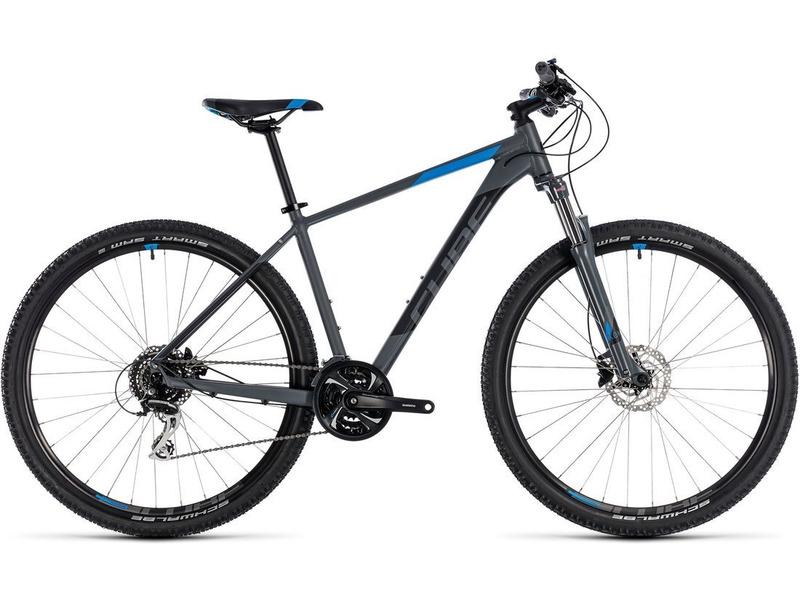 Aim Race 27.5 (2018)Велосипеды Горные<br>Хардтейл для езды в стиле кросс-кантри с оборудованием любительского класса Shimano, 27 скоростей. Технические особенности: алюминиевая рама Aluminium Lite, амортизационная вилка SR Suntour XCM Coil Disc, двойные обода CUBE CX 20, дисковые гидравлические тормоза Shimano BR-M315. Подходит для активной езды по различным дорогам и пересеченной местности. Диаметр колес - 27,5 дюймов. Вес - 14.4 кг.<br><br>Рама: Aluminium Lite, AMF, Internal Cable Routing, Easy Mount Kickstand Ready<br>Вилка: SR Suntour XCM Coil Disc, 100mm, Remote Lockout<br>Манетки: Shimano SL-M310, Rapidfire-Plus<br>Тормоза: Shimano BR-M315, Hydr. Disc Brake (160/160)<br>Передний переключатель: Shimano FD-TY700-TS6, Top Swing<br>Задний переключатель: Shimano RD-M360-SGS, 8-Speed<br>Передняя втулка: CUBE Alloy Light, 6-Bolt<br>Задняя втулка: CUBE Alloy Light, 6-Bolt<br>Система: Shimano FC-TY501, 42x34x24T, 170mm<br>Кассета: Shimano CS-HG200, 12-32T<br>Цепь: KMC Z7<br>Педали: CUBE PP MTB<br>Рулевая колонка: CUBE No.10 Semi-Integrated<br>Вынос: CUBE Varioclose, 31.8mm<br>Руль: CUBE Rise Trail Bar, 680mm<br>Подседельный штырь: CUBE Performance Post, 27.2mm<br>Седло: CUBE Active 1.1<br>Обода: CUBE CX 20<br>Покрышки: Schwalbe Smart Sam Active, 2.1