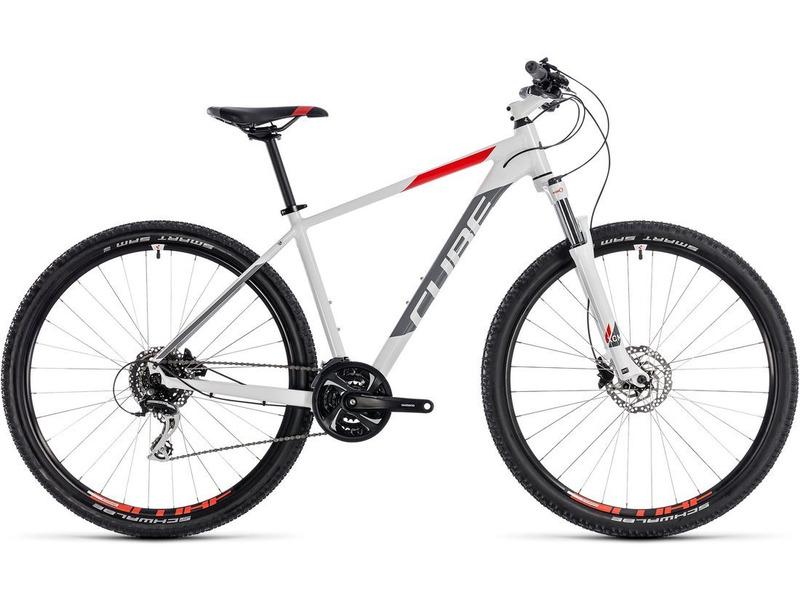 Aim Race 29 (2018)Велосипеды Горные<br>Хардтейл для езды в стиле кросс-кантри с оборудованием любительского класса Shimano, 27 скоростей. Технические особенности: алюминиевая рама Aluminium Lite, амортизационная вилка SR Suntour XCM Coil Disc, двойные обода CUBE CX 20, дисковые гидравлические тормоза Shimano BR-M315. Подходит для активной езды по различным дорогам и пересеченной местности. Диаметр колес - 29 дюймов. Вес - 14.4 кг.<br><br>Рама: Aluminium Lite, AMF, Internal Cable Routing, Easy Mount Kickstand Ready<br>Вилка: SR Suntour XCM Coil Disc, 100mm, Remote Lockout<br>Манетки: Shimano SL-M310, Rapidfire-Plus<br>Тормоза: Shimano BR-M315, Hydr. Disc Brake (160/160)<br>Передний переключатель: Shimano FD-TY700-TS6, Top Swing<br>Задний переключатель: Shimano RD-M360-SGS, 8-Speed<br>Передняя втулка: CUBE Alloy Light, 6-Bolt<br>Задняя втулка: CUBE Alloy Light, 6-Bolt<br>Система: Shimano FC-TY501, 42x34x24T, 170mm<br>Кассета: Shimano CS-HG200, 12-32T<br>Цепь: KMC Z7<br>Педали: CUBE PP MTB<br>Рулевая колонка: CUBE No.10 Semi-Integrated<br>Вынос: CUBE Varioclose, 31.8mm<br>Руль: CUBE Rise Trail Bar, 680mm<br>Подседельный штырь: CUBE Performance Post, 27.2mm<br>Седло: CUBE Active 1.1<br>Обода: CUBE CX 20<br>Покрышки: Schwalbe Smart Sam Active, 2.1