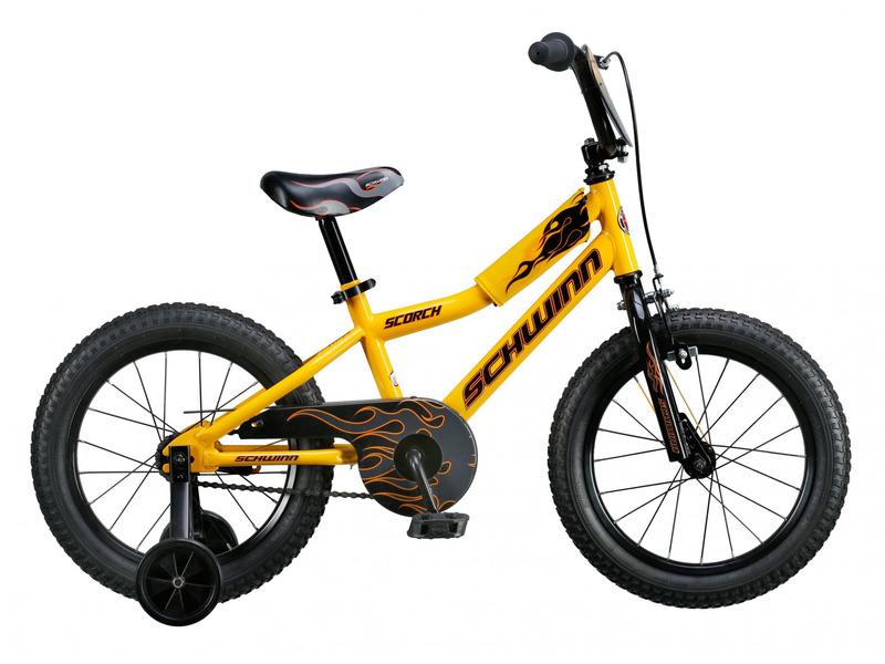 Scorch 16 (2017)Велосипед, предназначенный для детей в возрасте от трех до шести лет, без переключения передач. Технические особенности: стальная рама Schwinn SmartStart, жесткая вилка Rigid steel, одинарные стальные обода, передний тормоз - ручной U-brake, задний - ножной, защита цепи, съемные боковые колеса, номерной знак. Подходит для обучения и легких прогулок. Диаметр колес - 16 дюймов. Вес - 9,7 кг.<br><br>Рама: Schwinn SmartStart steel kids frame<br>Вилка: Rigid steel<br>Тормоза: Передний ручной U-brake, задний ножной<br>Передняя втулка: Steel bolt-on 20H coaster<br>Задняя втулка: Steel bolt-on 20H coaster<br>Система: One piece steel 28T<br>Каретка: One piece<br>Кассета: 16T<br>Цепь: KMC C410<br>Педали: Resin body with reflector<br>Вынос: Steel quill, 22.2<br>Руль: Kids BMX, 22.2<br>Подседельный штырь: Steel, 25.4 x 250 mm<br>Седло: Smart Start kids specific<br>Обода: Steel, 20H<br>Покрышки: Kids 16 x 2.125<br>Цвета выпускаемые: желтый<br>Размеры выпускаемые: Один размер