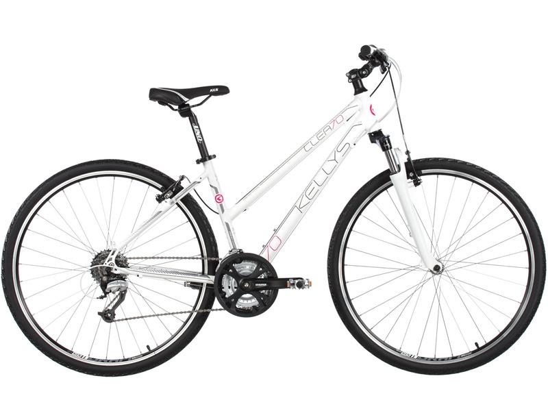Clea 70 (2017)Женский дорожный велосипед с оборудованием любительского класса Shimano, 24 скорости. Технические особенности: легкая алюминиевая рама Kellys Crosslite 6061, амортизационная вилка SR Suntour NEX HLO с ходом 63 мм, двойные алюминиевые обода KLS Draft, надежные ободные тормоза Tektro V-brake. Подходит для прогулочного катания по различным дорогам и пересеченной местности. Диаметр колес - 28 дюймов.<br><br>Рама: Kellys Crosslite 6061 alloy lady<br>Вилка: SR Suntour NEX HLO, 63mm, coil / Speed Lockout<br>Манетки: Shimano ST-EF510-8 EZ-fire Plus<br>Тормоза: Tektro V-brake<br>Передний переключатель: Shimano M191 (31.8mm)<br>Задний переключатель: Shimano Altus M370<br>Передняя втулка: KLS Drive (32 holes)<br>Задняя втулка: KLS Drive (32 holes)<br>Система: SR Suntour XCC (48x38x28) - length 170mm (17?), 175mm (19?)<br>Каретка: Cartridge (113mm)<br>Кассета: Shimano CS-HG200-8 (12-32)<br>Цепь: KMC Z7 (114 links)<br>Педали: VP NonSlip - alloy<br>Вынос: KLS Cross - adjustable - diam 28.6mm / bar bore 25.4mm / length 90mm (17?), 110mm (19?)<br>Руль: KLS Cross RiseBar - diam 25.4mm / width 620mm<br>Подседельный штырь: KLS Expert - diam 27.2mm / length 350mm<br>Седло: KLS ComfortLine<br>Обода: KLS Draft 622x19 (32 holes / eyelets)<br>Спицы: U.C.P. steel<br>Покрышки: Innova 44-622 (700x42C)<br>Цвета выпускаемые: белый, черный<br>Размеры выпускаемые: 17, 19?