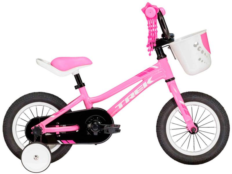 """PreCaliber 12 Girls (2018)Велосипед, предназначенный для девочек в возрасте от полутора до трех лет, без переключения передач. Технические особенности: алюминиевая рама Alpha Silver Aluminium, жесткая вилка High-tensile steel, одинарные алюминиевые обода, ножные педальные тормоза, полная защита цепи, съемные боковые колеса, передняя корзинка, мягкая накладка на руле, сиденье с поддерживающей ручкой. Подходит для обучения и легких прогулок. Диаметр колес - 12 дюймов.<br><br>Рама: 12"""" Dialed frame size, Alpha Silver Aluminium<br>Вилка: Dialed 12"""", high-tensile steel<br>Тормоза: Ножной тормоз<br>Передняя втулка: Steel<br>Задняя втулка: Coaster brake<br>Система: Alloy, 26T w/chainguard<br>Каретка: Sealed cartridge<br>Цепь: HV410<br>Педали: Dialed 1/2"""", platform<br>Рулевая колонка: Adjustable ball bearing<br>Вынос: Alloy, 4 bolt<br>Руль: Dialed 12"""" size<br>Седло: Dialed 12"""" size, padded<br>Обода: 12"""" 20-hole alloy<br>Покрышки: Bontrager Dialed 12x1.75""""<br>Цвета выпускаемые: розовый<br>Размеры выпускаемые: Один размер под рост 90-102 см и вес 36 кг"""