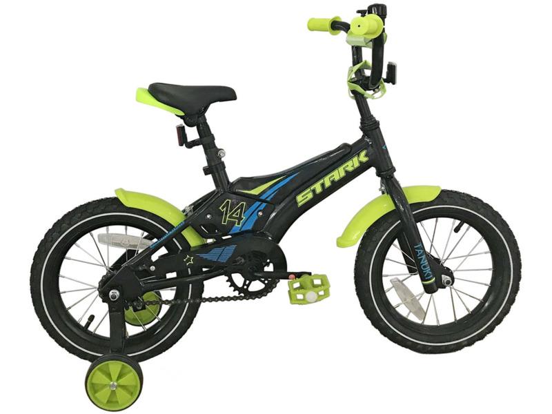 Tanuki 14 Boy (2018)Велосипед, предназначенный для детей в возрасте от двух до четырех лет, без переключения передач. Технические особенности: алюминиевая рама AL-6061, жесткая стальная вилка Stark Rigid, одинарные обода, ножные педальные тормоза, съемные боковые колеса, крылья, защита цепи, мягкая накладка на руле, отражатели, звонок. Подходит для обучения и легких прогулок. Диаметр колес - 14 дюймов. Вес - 10,2 кг.<br><br>Рама: Алюминий AL-6061<br>Вилка: Stark Rigid, жесткая<br>Тормоза: Ножной (Coaster brake)<br>Передняя втулка: DC, конусные<br>Задняя втулка: DC, конусные<br>Система: 28T, сталь<br>Каретка: Конусная<br>Кассета: 16T<br>Цепь: Taya<br>Педали: Пластик<br>Рулевая колонка: Неинтегрированная<br>Вынос: Сталь, резьбовой<br>Руль: Сталь<br>Седло: Stark, детское<br>Обода: Одинарные<br>Покрышки: Wanda 14х2,125<br>Цвета выпускаемые: черный/зеленый<br>Размеры выпускаемые: Один размер