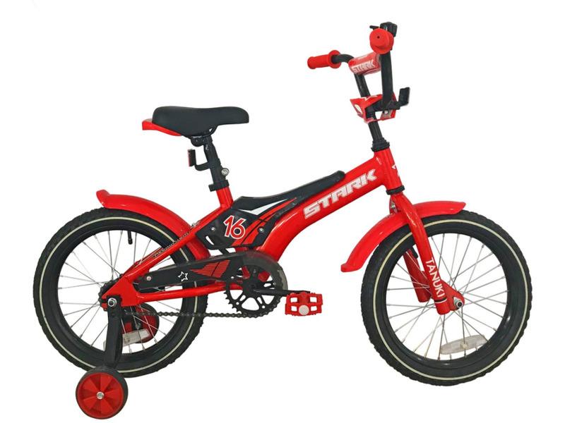 Tanuki 16 Boy (2018)Велосипед, предназначенный для детей в возрасте от трех до шести лет, без переключения передач. Технические особенности: алюминиевая рама AL-6061, жесткая стальная вилка Stark Rigid, одинарные обода, ножные педальные тормоза, съемные боковые колеса, крылья, защита цепи, мягкая накладка на руле, отражатели, звонок. Подходит для обучения и легких прогулок. Диаметр колес - 16 дюймов. Вес - 10,9 кг.<br><br>Рама: Алюминий AL-6061<br>Вилка: Stark Rigid, жесткая<br>Тормоза: Ножной (Coaster brake)<br>Передняя втулка: DC, конусные<br>Задняя втулка: DC, конусные<br>Система: 28T, сталь<br>Каретка: Конусная<br>Кассета: 16T<br>Цепь: Taya<br>Педали: Пластик<br>Рулевая колонка: Неинтегрированная<br>Вынос: Сталь, резьбовой<br>Руль: Сталь<br>Седло: Stark, детское<br>Обода: Одинарные<br>Покрышки: Wanda 16х2,125<br>Цвета выпускаемые: красный/черный<br>Размеры выпускаемые: Один размер