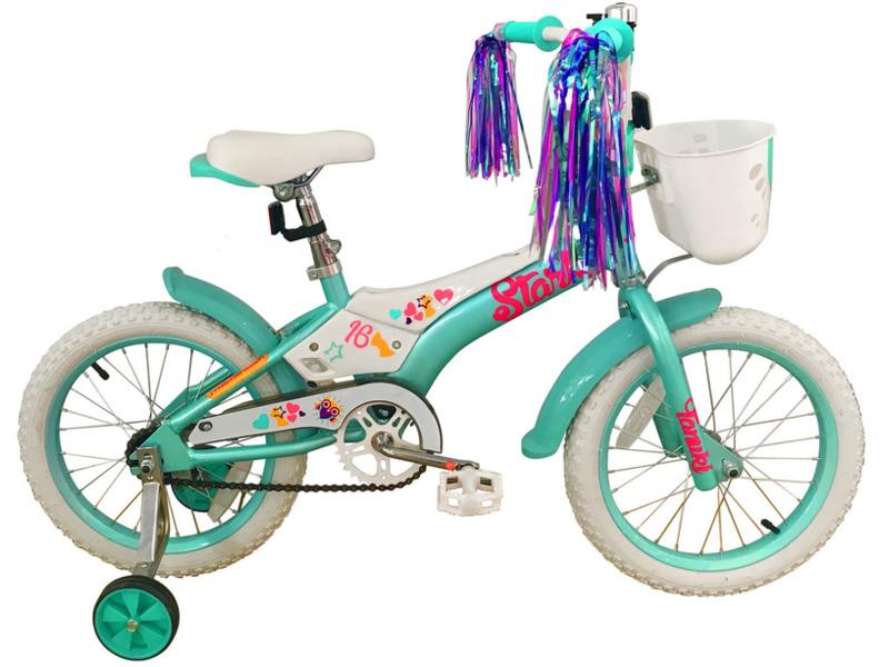 Tanuki 16 Girl (2018)Велосипед, предназначенный для девочек в возрасте от трех до шести лет, без переключения передач. Технические особенности: алюминиевая рама AL-6061, жесткая стальная вилка Stark Rigid, одинарные обода, ножные педальные тормоза, съемные боковые колеса, передняя корзинка, крылья, защита цепи, мягкая накладка на руле, отражатели, звонок. Подходит для обучения и легких прогулок. Диаметр колес - 16 дюймов. Вес - 11 кг.<br><br>Рама: Алюминий AL-6061<br>Вилка: Stark Rigid, жесткая<br>Тормоза: Ножной (Coaster brake)<br>Передняя втулка: DC, конусные<br>Задняя втулка: DC, конусные<br>Система: 28T, сталь<br>Каретка: Конусная<br>Кассета: 16T<br>Цепь: Taya<br>Педали: Пластик<br>Рулевая колонка: Неинтегрированная<br>Вынос: Сталь, резьбовой<br>Руль: Сталь<br>Седло: Stark, детское<br>Обода: Одинарные<br>Покрышки: Wanda 16х2,125<br>Цвета выпускаемые: голубой/розовый<br>Размеры выпускаемые: Один размер