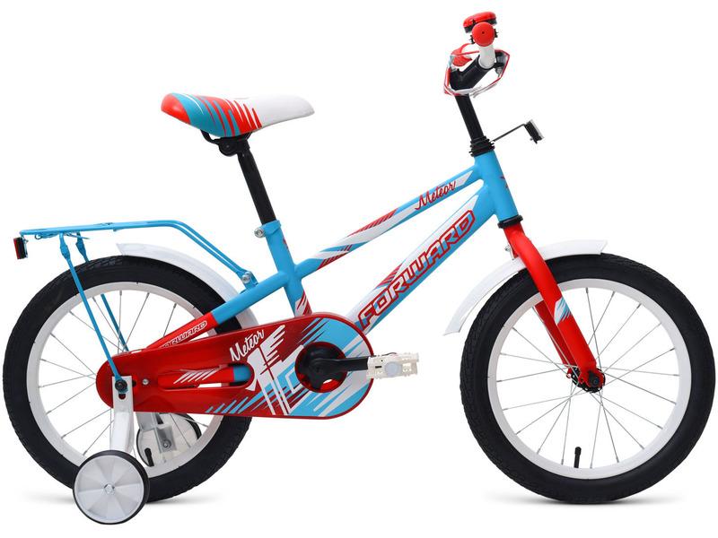 Meteor 16 (2018)Велосипед, предназначенный для детей в возрасте от трех до шести лет, без переключения передач. Технические особенности: прочная стальная рама Hi-Ten, жесткая стальная вилка, одинарные обода, ножные педальные тормоза, полная защита цепи, съемные боковые колеса, стальные крылья, багажник с зажимом, мягкая накладка на руле, звонок. Подходит для обучения и легких прогулок. Диаметр колес - 16 дюймов. Вес - 10,9 кг.<br><br>Рама: Сталь Hi-Ten<br>Вилка: Жесткая стальная<br>Тормоза: Ножной тормоз<br>Передняя втулка: FWD, стальная<br>Задняя втулка: FWD, стальная<br>Система: FWD, 32T, cтальная<br>Каретка: Golden Swallow, стальная<br>Кассета: 16T<br>Цепь: KMC C410<br>Педали: Пластик<br>Рулевая колонка: Резьбовая с ограничителем угла поворота<br>Вынос: FWD, резьбовой стальной<br>Руль: FWD, cтальной, 22.2х480 мм<br>Подседельный штырь: FWD, стальной, 25.4х250 мм<br>Седло: FWD MTB Kid<br>Обода: FWD Single Wall, стальные одностеночные<br>Покрышки: Forward, 16x2.125 (30TPI)<br>Цвета выпускаемые: голубой/зеленый, голубой/красный, желтый/синий, серый<br>Размеры выпускаемые: Один размер