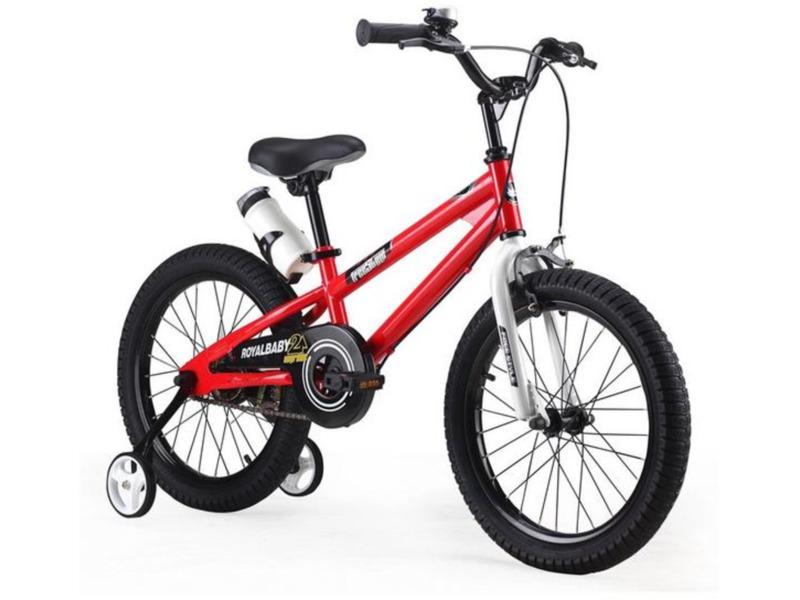 """Royal Baby Freestyle 18 (2016)Велосипед, предназначенный для детей в возрасте от четырех до восьми лет, без переключения передач. Технические особенности: прочная стальная рама, жесткая стальная вилка, одинарные обода, передний тормоз - ручной V-brake, задний - ножной, полная защита цепи, съемные боковые колеса, пластиковые крылья, поддерживающая ручка, бутылочка для воды с держателем, звонок. Подходит для обучения и прогулочного катания в городских условиях. Диаметр колес - 18 дюймов. Вес - 12 кг.<br><br>Рама: Сталь<br>Вилка: Жесткая, сталь<br>Тормоза: Передний ручной V-brake, задний ножной<br>Передняя втулка: Сталь<br>Задняя втулка: Сталь<br>Система: Сталь<br>Каретка: Сталь<br>Шатун: Стальные<br>Педали: Пластик, с катафотами<br>Рулевая колонка: Сталь<br>Вынос: Сталь<br>Руль: Сталь, высота 78-87 см<br>Подседельный штырь: Стальной<br>Седло: Детское, с поддерживающей ручкой<br>Обода: Алюминий<br>Покрышки: 18""""<br>Цвета выпускаемые: синий, оранжевый, зеленый, белый, красный<br>Размеры выпускаемые: Один размер под рост 120-145 см"""