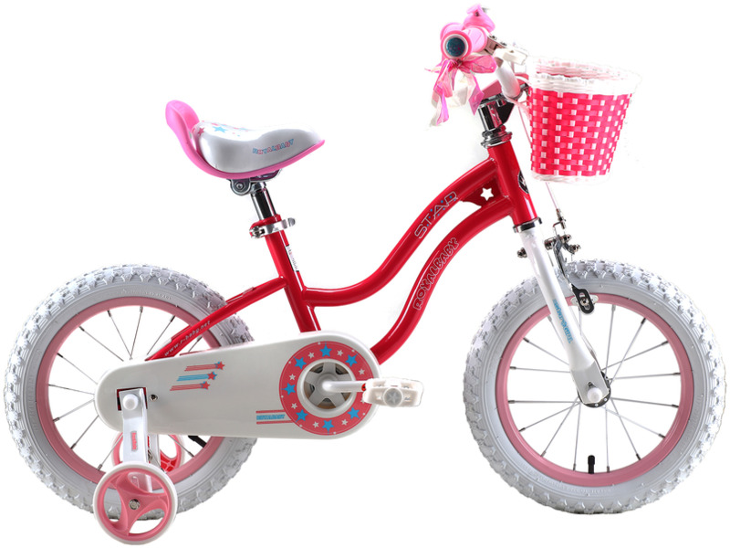 """Royal Baby Stargirl Steel 14 (2016)Велосипед, предназначенный для девочек в возрасте от двух до четырех лет, без переключения передач. Технические особенности: прочная стальная рама, жесткая стальная вилка, одинарные обода, передний тормоз - ручной V-brake, задний - ножной, полная защита цепи, съемные боковые колеса, поддерживающая ручка, передняя корзинка, звонок. Подходит для обучения и прогулочного катания в городских условиях. Диаметр колес - 14 дюймов. Вес - 9,5 кг.<br><br>Рама: Сталь<br>Вилка: Жесткая, сталь<br>Тормоза: Передний ручной V-brake, задний ножной<br>Передняя втулка: Сталь<br>Задняя втулка: Сталь<br>Система: Сталь<br>Каретка: Сталь<br>Шатун: Стальные<br>Педали: Пластик, с катафотами<br>Рулевая колонка: Сталь<br>Вынос: Сталь<br>Руль: Сталь, высота 66-73 см<br>Подседельный штырь: Стальной<br>Седло: Детское, с поддерживающей ручкой<br>Обода: Алюминий<br>Покрышки: 14""""<br>Цвета выпускаемые: розовый, голубой<br>Размеры выпускаемые: Один размер под рост 105-130 см"""