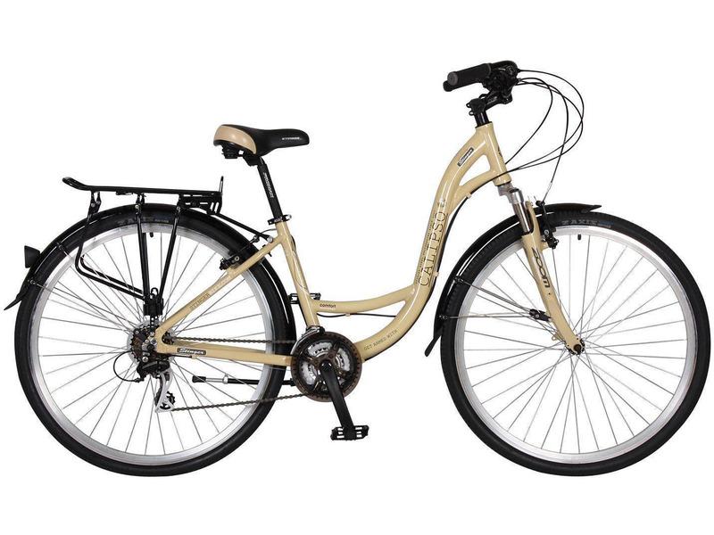 """Calipso (2015)Женский дорожный велосипед с оборудованием любительского класса Shimano, 21 скорость. Технические особенности: алюминиевая рама, амортизационная вилка Zoom Swift 140 с ходом 40 мм, двойные алюминиевые обода, надежные ободные тормоза Promax TX-115C V-brake, длинные крылья, багажник, комфортное седло, подножка. Подходит для туристического и прогулочного катания по различным дорогам и пересеченной местности. Диаметр колес - 28 дюймов. Вес - 16,3 кг.<br><br>Рама: Алюминий<br>Вилка: Zoom Swift 140, ход 40 мм<br>Манетки: Shimano EF51<br>Тормоза: Promax TX-115C V-brake<br>Передний переключатель: Shimano Tourney TX50<br>Задний переключатель: Shimano Altus M310<br>Передняя втулка: KT-A15F, с эксц.<br>Задняя втулка: KT-A12R, с эксц.<br>Система: Prowheel 42/32/22 170mm<br>Каретка: Neco B910, картриджная<br>Кассета: Shimano Tourney TZ21<br>Цепь: KMC Z50<br>Педали: Feimin FP-807, пластик<br>Рулевая колонка: Neco H142, 1-1/8""""<br>Вынос: Алюминий<br>Руль: Алюминий<br>Подседельный штырь: Promax 27.2mm; L=350 mm<br>Седло: Stinger, комфортное<br>Обода: 28"""", двойные, 36 спиц, алюминий<br>Покрышки: Z-Axis 28x1.75""""<br>Цвета выпускаемые: серый<br>Размеры выпускаемые: 16"""""""