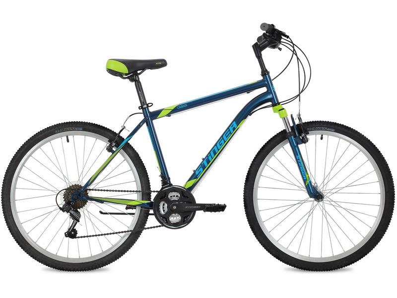 """Caiman 26 (2018)Велосипеды Горные<br>Горный велосипед для начинающих с навесным оборудованием Shimano, 18 скоростей. Технические особенности: прочная стальная рама Hi-Ten, амортизационная вилка Stinger SF-100 с ходом 50 мм, усиленные алюминиевые обода Felgebeiter HAC11, надежные ободные тормоза V-brake, подножка. Подходит для прогулочного катания по различным дорогам и несложной пересеченной местности. Диаметр колес - 26 дюймов. Вес - 16,1 кг.<br><br>Рама: Сталь Hi-Ten<br>Вилка: Stinger SF-100, ход 50мм<br>Манетки: Microshift TS-38<br>Тормоза: V-brake, сталь<br>Передний переключатель: Shimano Tourney TZ30<br>Задний переключатель: Shimano Tourney TY21<br>Передняя втулка: Stinger DC, сталь, с эксц.<br>Задняя втулка: Stinger DC, сталь, с эксц.<br>Система: Stinger FMC, 42/34/24T<br>Каретка: STG, картридж<br>Кассета: Superwin, 14-28T<br>Цепь: KMC Z33<br>Педали: Feimin FP-807, пластик<br>Рулевая колонка: Feimin, сталь<br>Вынос: Стальной<br>Руль: Стальной<br>Подседельный штырь: Stinger S-Post, диам. 28.8мм; длина 300мм<br>Седло: Stinger, комфортное<br>Обода: Felgebeiter HAC11, усиленные<br>Спицы: Стальные<br>Покрышки: Z-Axis 786 26x2.1""""<br>Цвета выпускаемые: синий, белый<br>Размеры выпускаемые: 14, 16, 18, 20"""""""