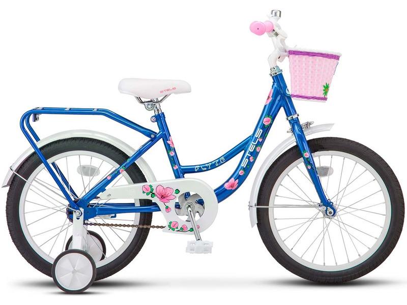 """Flyte Lady 18 Z011 (2016)Велосипед, предназначенный для девочек в возрасте от четырех до восьми лет, без переключения передач. Технические особенности: прочная стальная рама, жесткая вилка, одинарные обода, ножные педальные тормоза, съемные боковые колеса, защита цепи, длинные крылья, багажник, звонок, передняя корзинка. Подходит для обучения и прогулочного катания в городских условиях. Диаметр колес - 18 дюймов. Вес - 12 кг.<br><br>Рама: Сталь Hi-Ten<br>Вилка: Жесткая, сталь<br>Тормоза: Ножные педальные<br>Передняя втулка: Стальная хромированная<br>Задняя втулка: Стальная хромированная<br>Система: Сталь<br>Каретка: Сталь<br>Педали: Пластик<br>Рулевая колонка: Сталь<br>Вынос: Сталь<br>Руль: Сталь<br>Подседельный штырь: Стальной<br>Седло: Stels, детское<br>Обода: Одинарные<br>Покрышки: 18""""<br>Цвета выпускаемые: голубой<br>Размеры выпускаемые: Один размер"""