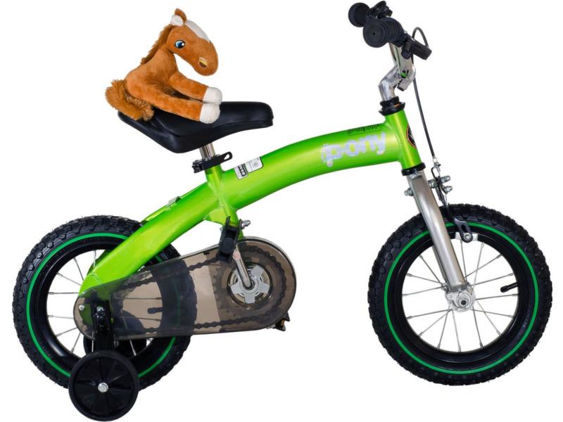 Royal Baby Pony 12 (2016)Велосипед-трансформер (2в1), сочетающий в себе беговел и детский велосипед с боковыми колесами, предназначенный для детей в возрасте от полутора до трех лет, без переключения передач. Технические особенности: стальная рама Hi-Ten, жесткая вилка, одинарные обода, надежные ободные тормоза V-brake, блок с педалями и пластиковой защитой цепи, звонок, боковые колеса. Подходит для обучения и прогулочного катания в городских условиях. Диаметр колес - 12 дюймов. Вес - 5 кг (беговел) / 9 кг (с педальным блоком).<br><br>Рама: Сталь Hi-Ten<br>Вилка: Жесткая, сталь<br>Тормоза: Ободной V-brake (передний)<br>Передняя втулка: Сталь<br>Задняя втулка: Сталь<br>Система: Стальная<br>Педали: Пластик<br>Руль: Стальной, с регулирвкой высоты 62-70 см<br>Подседельный штырь: Стальной, с регулирвкой высоты 45-55 см<br>Седло: Детское, с поддерживающей ручкой<br>Обода: Одинарные<br>Спицы: Стальные<br>Покрышки: 12?<br>Цвета выпускаемые: зеленый, красный, оранжевый, синий, розовый<br>Размеры выпускаемые: Один размер под рост 95-120 см