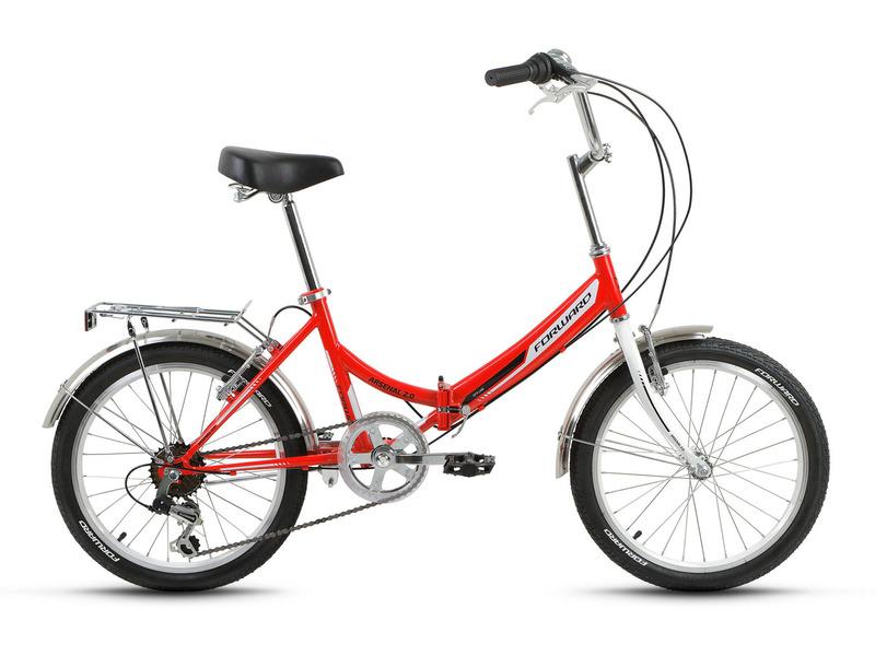 """Arsenal 2.0 (2018)Складной прогулочный велосипед с навесным оборудованием начального уровня, 6 скоростей. Технические особенности: стальная рама Hi-Ten, жесткая стальная вилка, двойные алюминиевые обода FWD Double Wall, надежные ободные тормоза Promax TX-119L V-brake, защита цепи, длинные крылья, багажник, звонок, подножка. Подходит для прогулочного катания по шоссе и ровным проселочным дорогам. Диаметр колес - 20 дюймов. Вес - 15 кг.<br><br>Рама: Сталь Hi-Ten<br>Вилка: Жесткая стальная<br>Манетки: FWD SL-KD-30, рычажные<br>Тормоза: Promax TX-119L V-brake<br>Задний переключатель: FWD RD-HG-17B<br>Передняя втулка: FWD, стальная<br>Задняя втулка: FWD, стальная<br>Система: FWD GS-S112, 40T, стальная<br>Каретка: Kenli, стальная<br>Кассета: FWD KFW-660, 14-28T, 6 ск.<br>Цепь: KMC HV408<br>Педали: Пластик<br>Рулевая колонка: Neco, 1"""", резьбовая<br>Вынос: FWD, резьбовой стальной<br>Руль: FWD, cтальной, 25.4x600 мм<br>Подседельный штырь: FWD, стальной, 28.6x400 мм<br>Седло: FWD Comfort<br>Обода: FWD Double Wall, алюминиевые двустеночные<br>Спицы: Стальные<br>Покрышки: Forward, 20x1.95"""" (30TPI)<br>Цвета выпускаемые: белый, красный, желтый<br>Размеры выпускаемые: 14"""""""