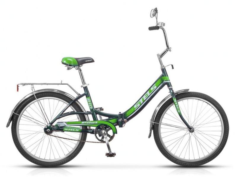 Pilot 810 (2013)Складной велосипед для жителей большого города, без переключения передач. Алюминиевая рама, жесткая вилка, двойные обода, длинные крылья из нержавеющей стали, багажник, звонок, зеркало, насос. Ножные педальные тормоза, отличающиеся наибольшей простотой в использовании и надежностью. Подходит для прогулочного катания по городским паркам, улицам и несложным маршрутам в лесу. Диаметр колес 24 дюймов, вес 15,1 кг.<br><br>Рама: Алюминий<br>Вилка: Сталь<br>Тормоза: Задний ножной<br>Передняя втулка: KT, сталь<br>Задняя втулка: KT, сталь<br>Каретка: Сталь<br>Шатун: Сталь<br>Педали: Пластик/сталь<br>Рулевая колонка: Сталь<br>Седло: Cionlli комфортное с пружинами<br>Обода: Алюминий, двойные<br>Покрышки: KENDA, 24х1,95<br>Цвета выпускаемые: синий, тёмно-серый, красный, зелёный<br>Размеры выпускаемые: 16